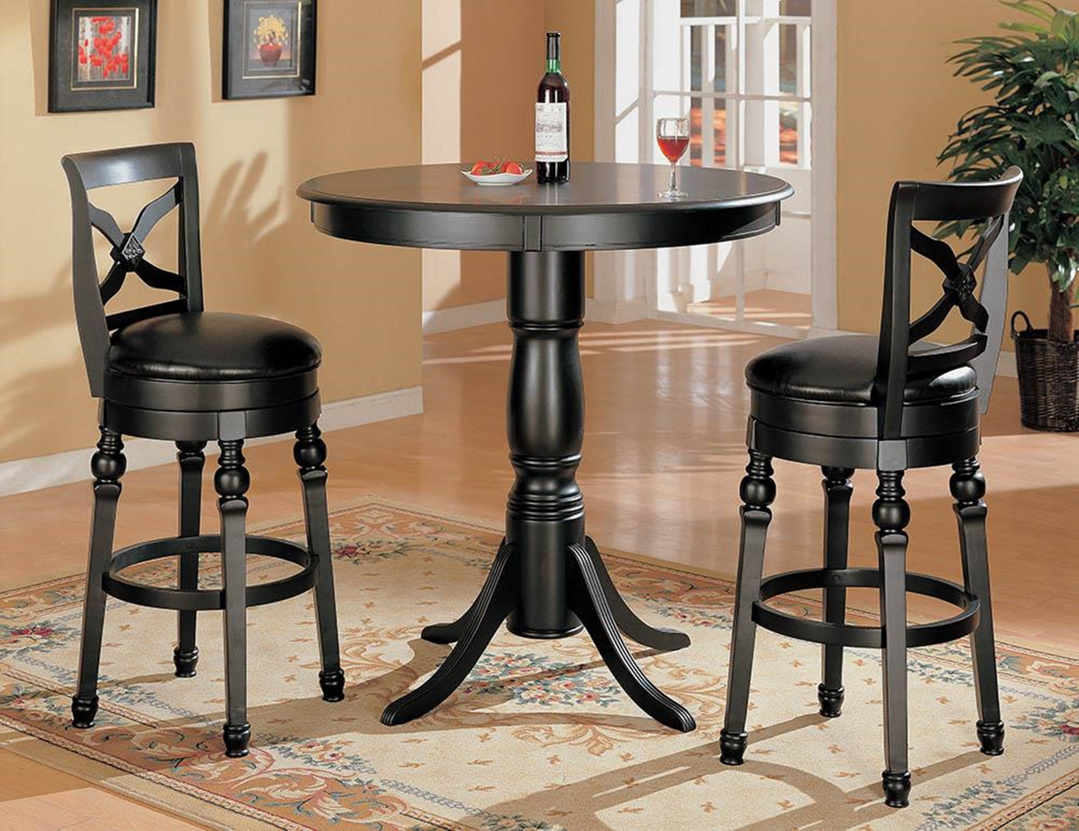 Lathrop Black Round Bar Table