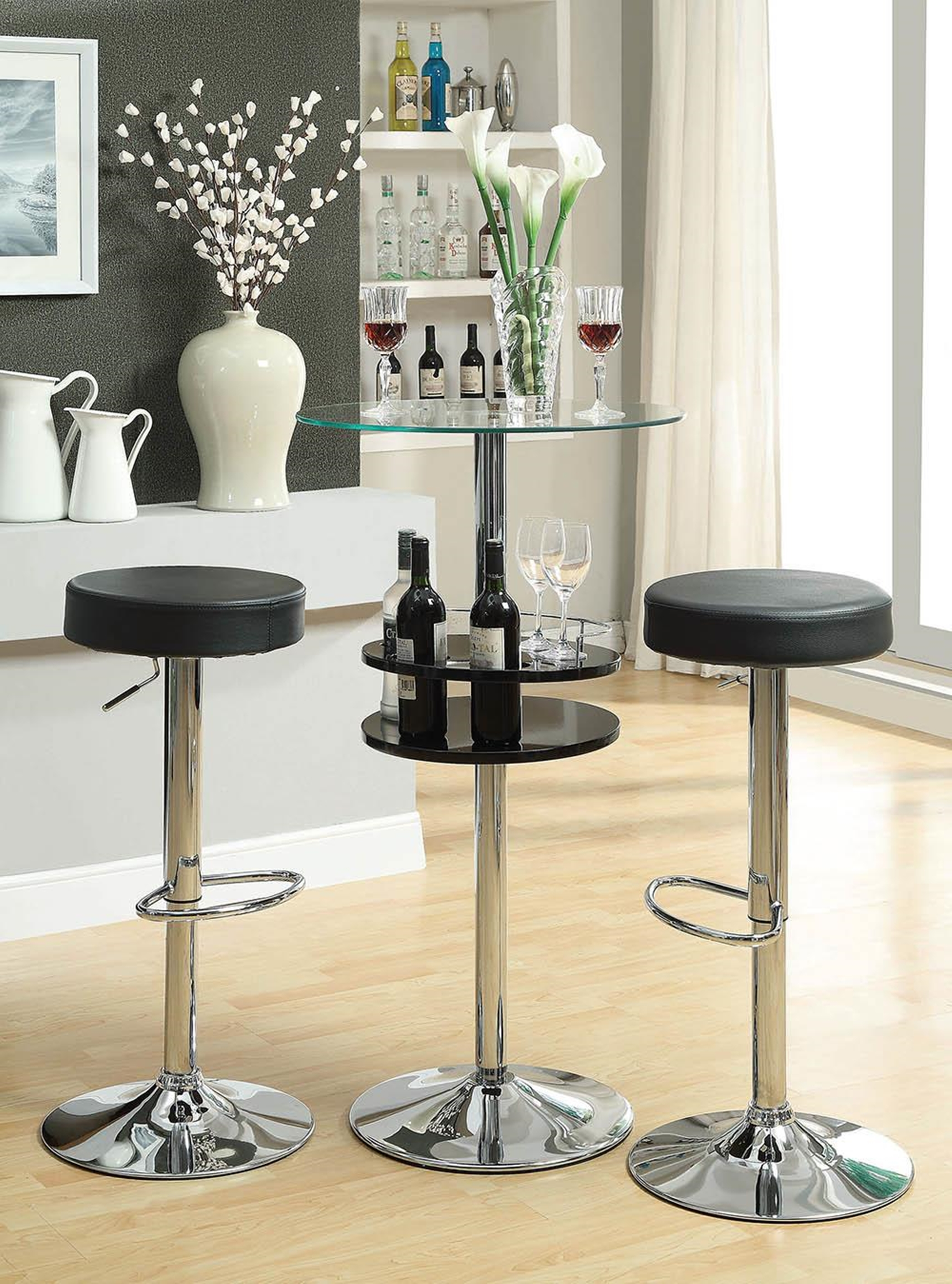 120715 - Contemporary Black Bar Table