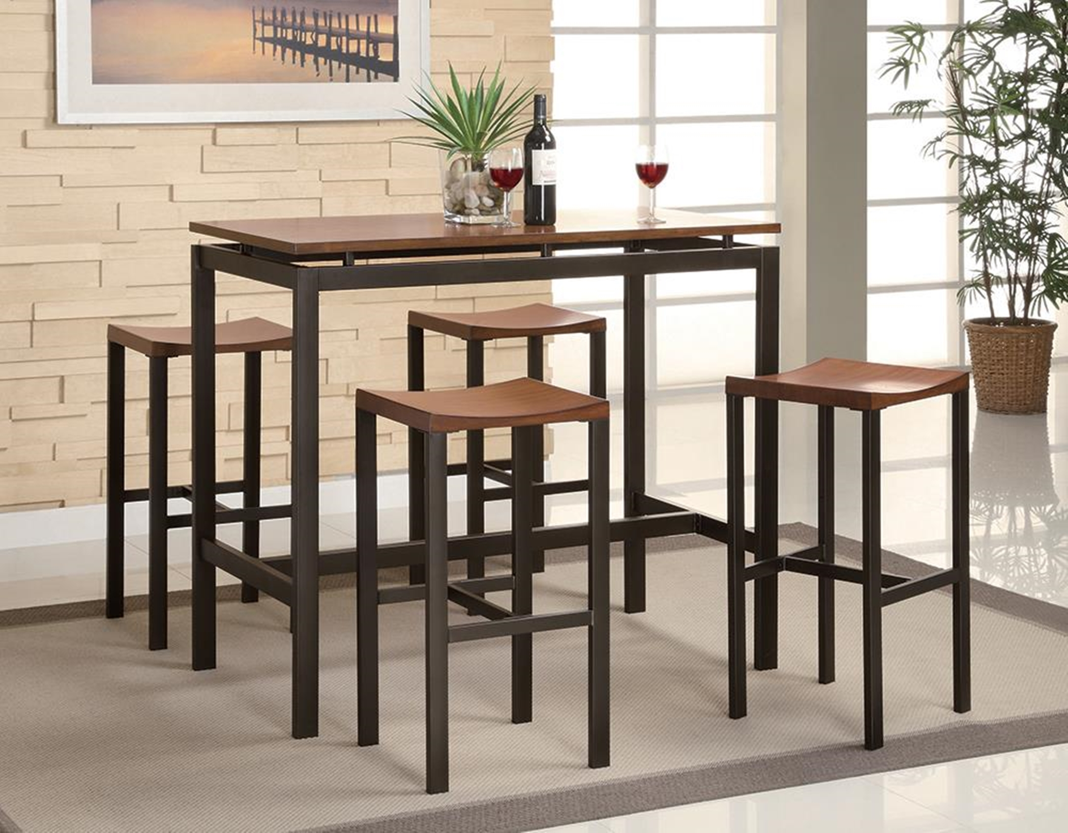 Atlas Birch Veneer and Black 5-Pc. Dining Set