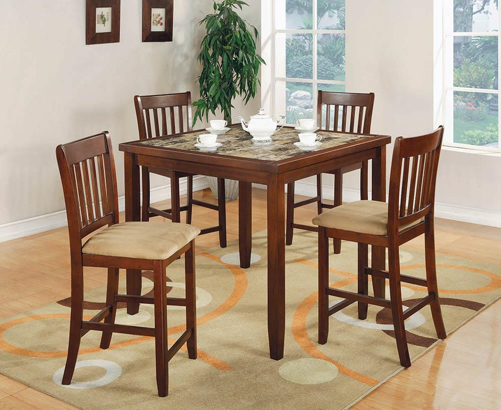 5-Pc. Casual Cherry Counter-Height Dining Set
