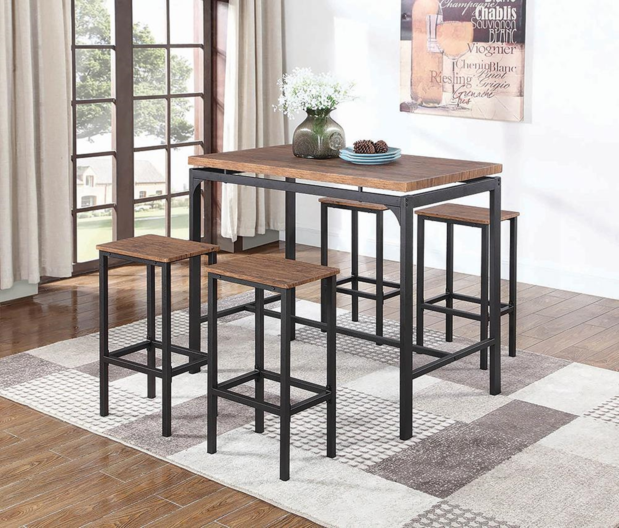 Contemporary Chestnut 5-Pc. Bar Set