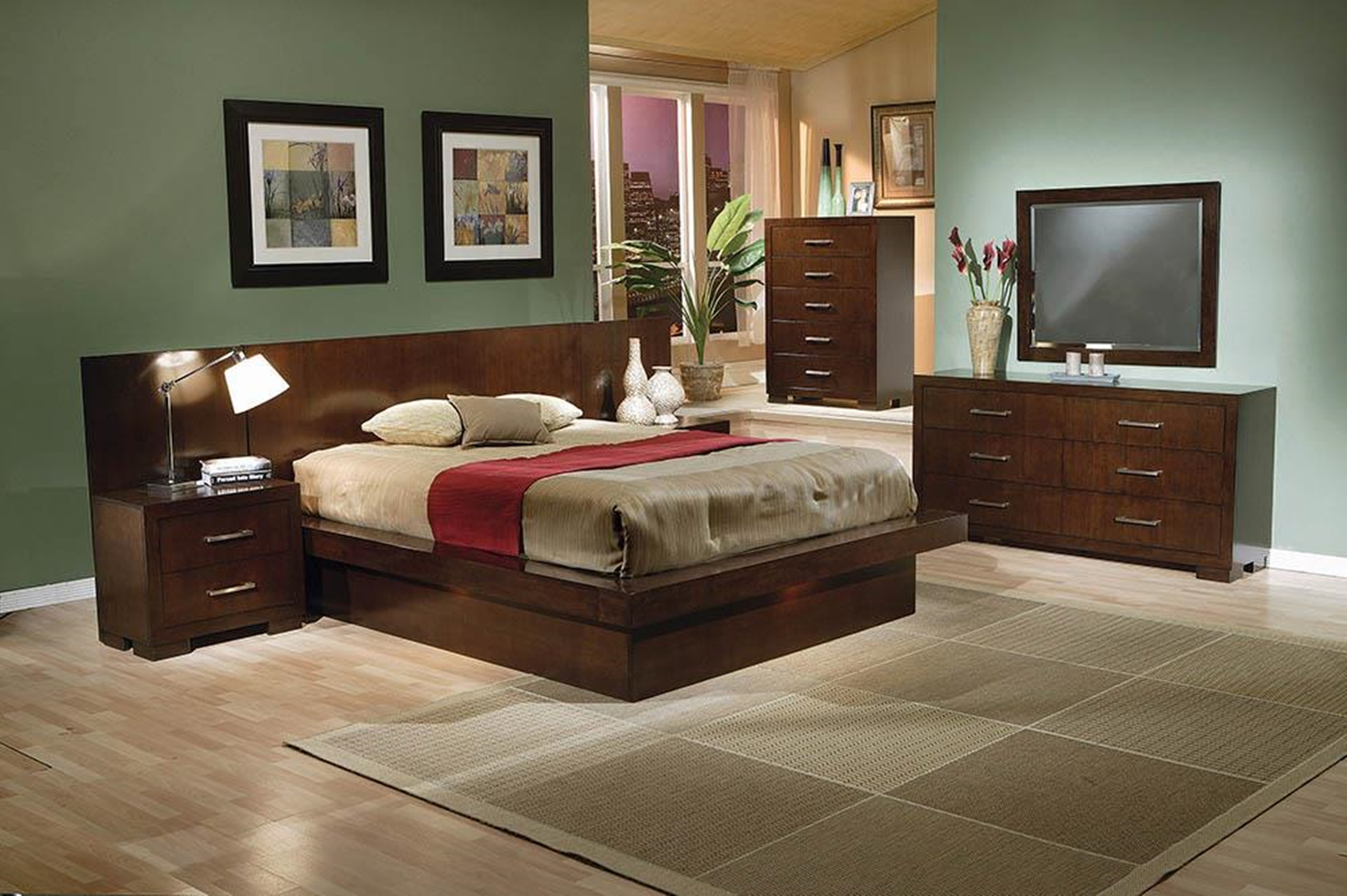 Jessica Dark Capp. Queen Platform Bed