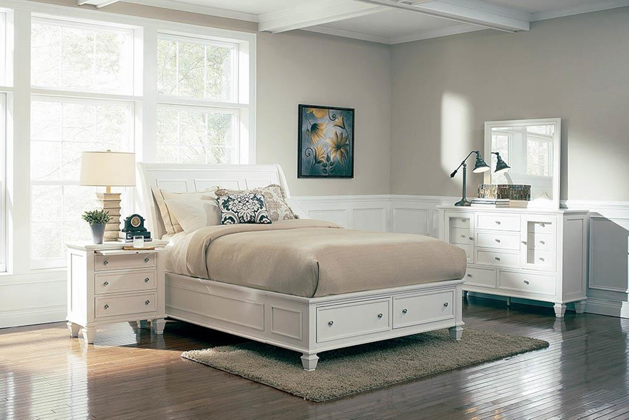 Sandy Beach White Queen Sleigh Bed