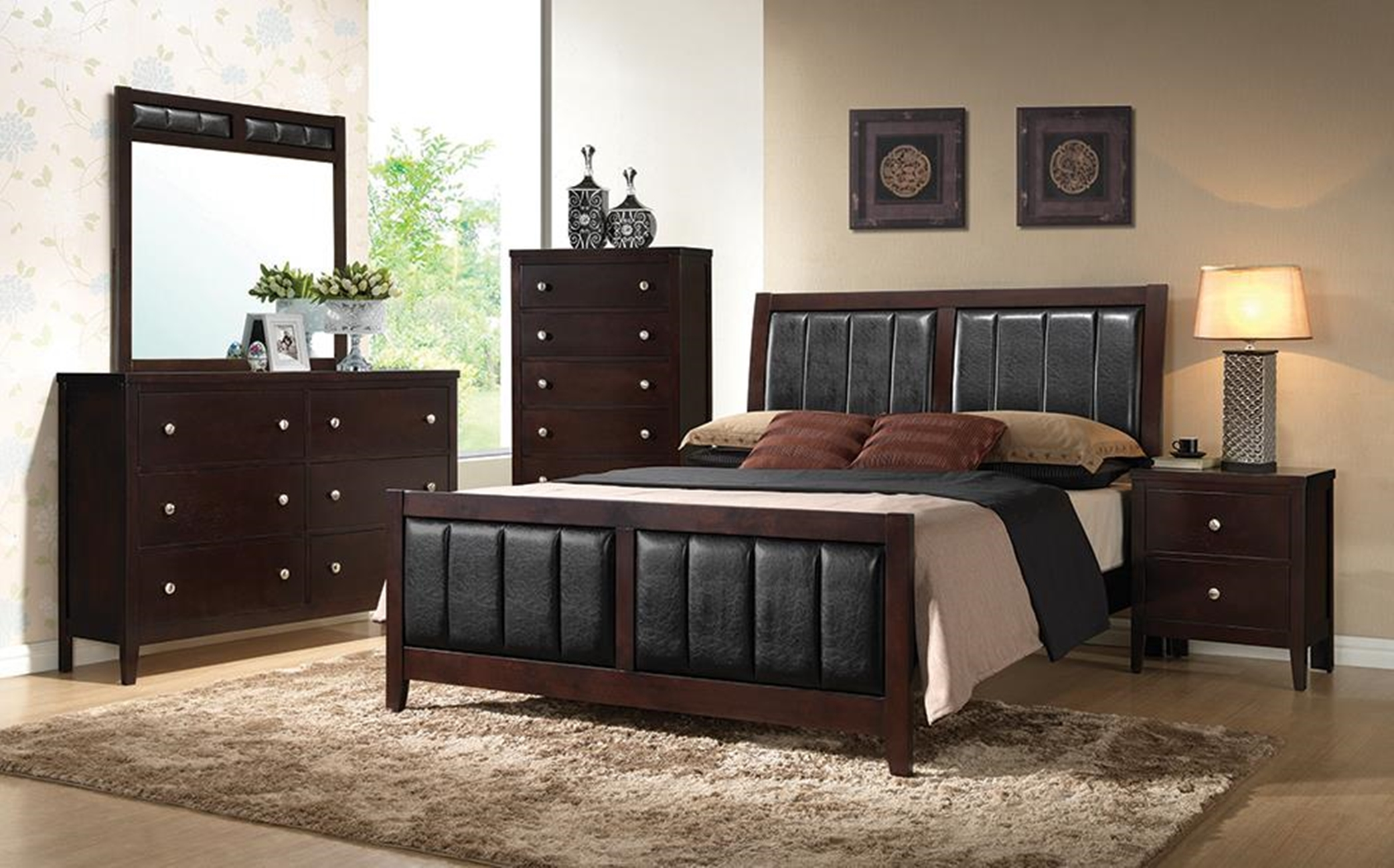 Carlton Transitional Capp. Queen Bed