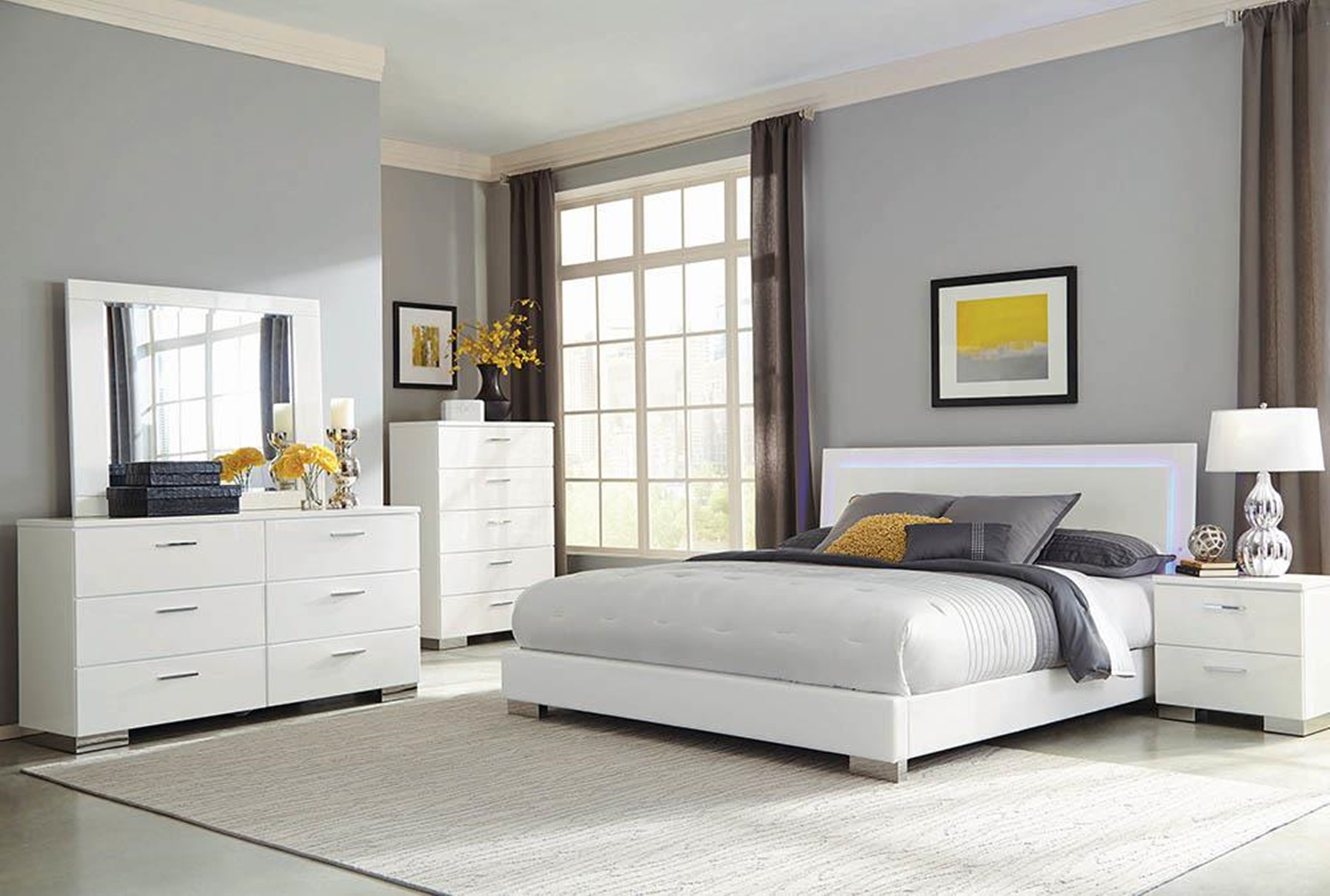 Felicity Glossy White Lighted Queen Bed