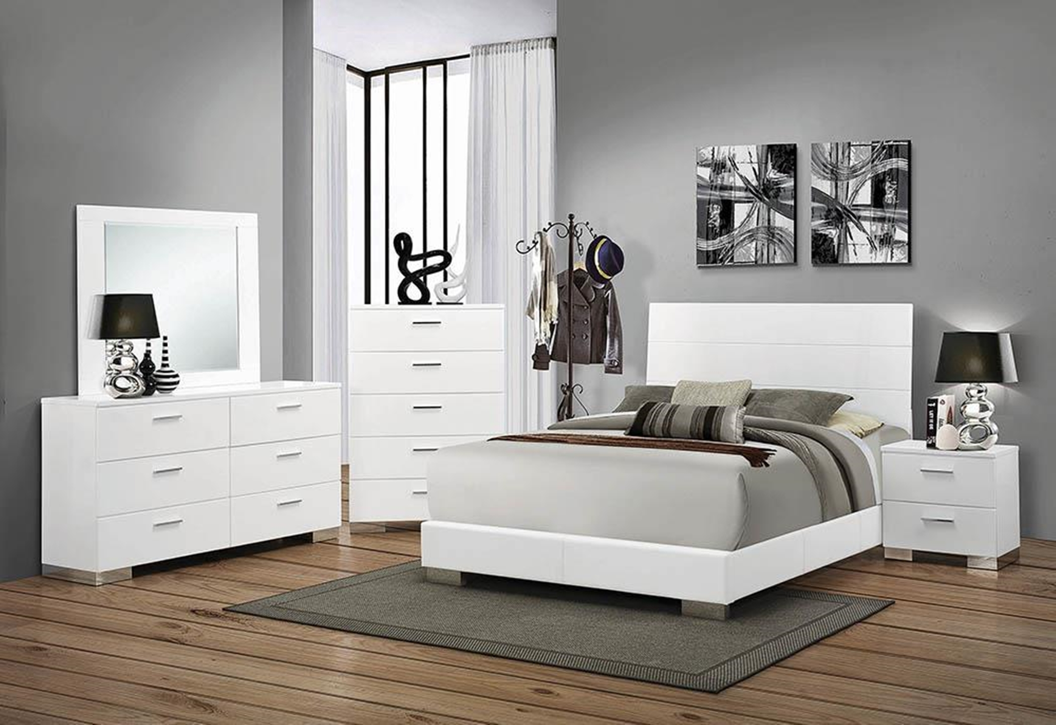 Felicity Glossy White Queen Bed