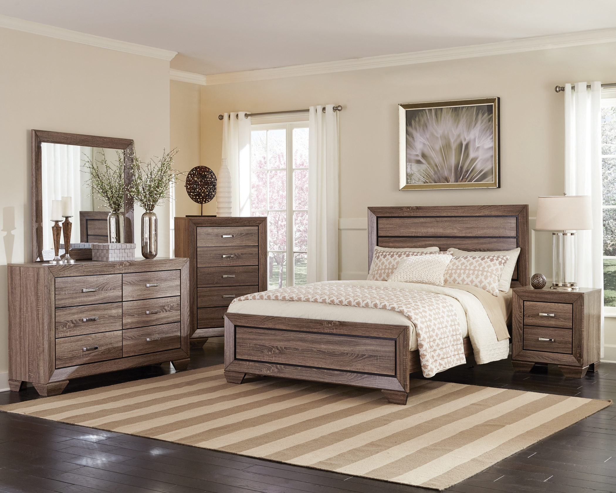 Kauffman Transitional Washed Taupe E. King 5-Pc.