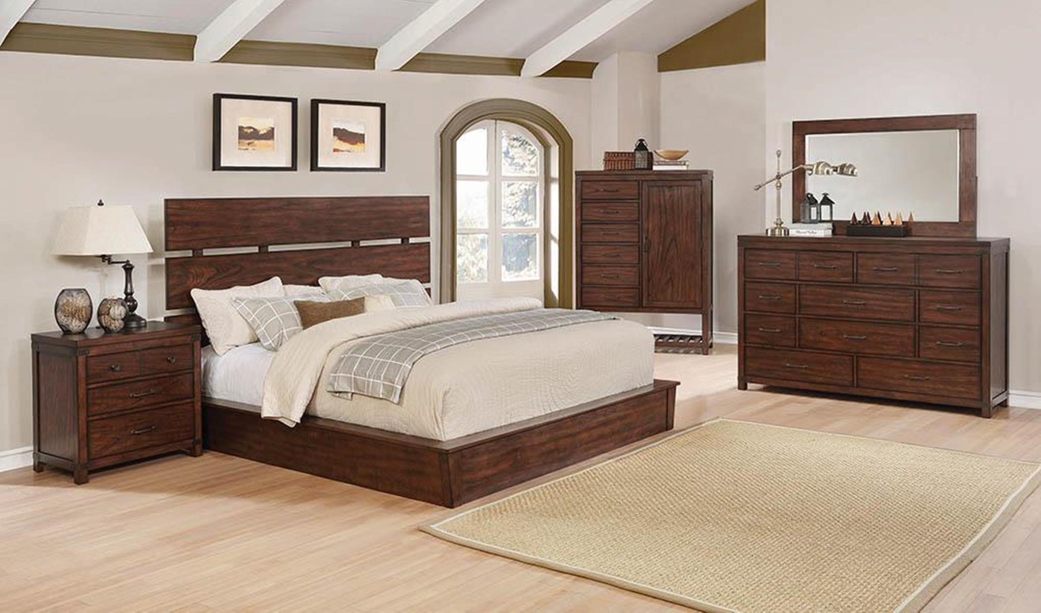 Artesia Transitional Dark Cocoa Queen Bed