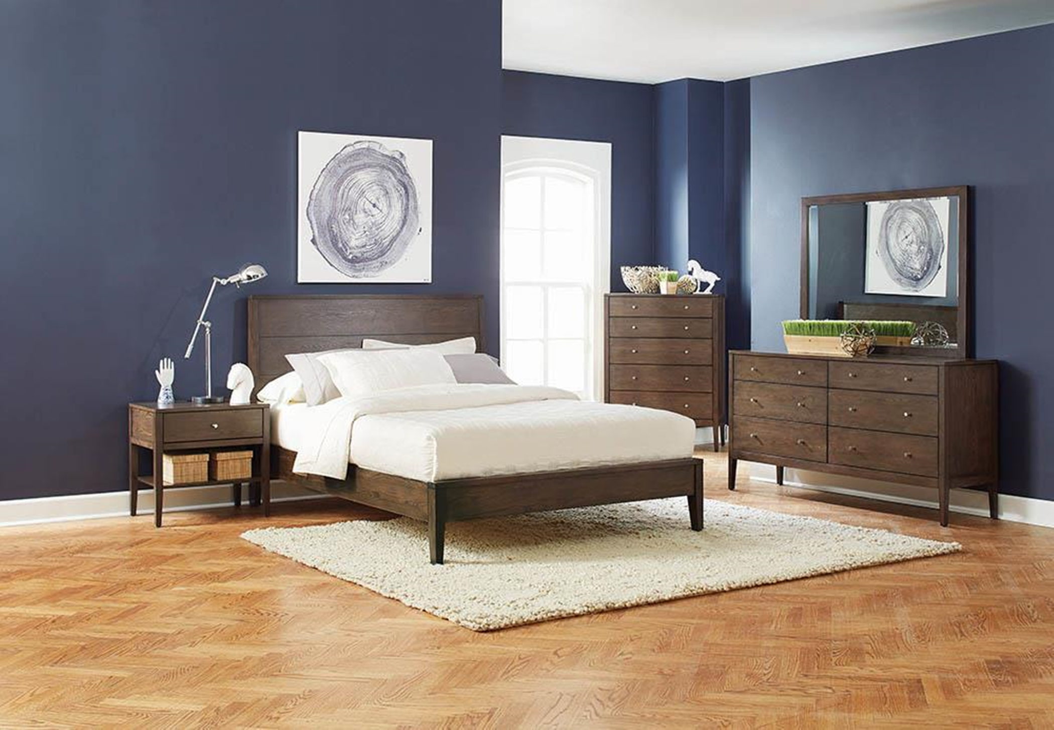Lompoc Mid-Century Walnut Queen Bed