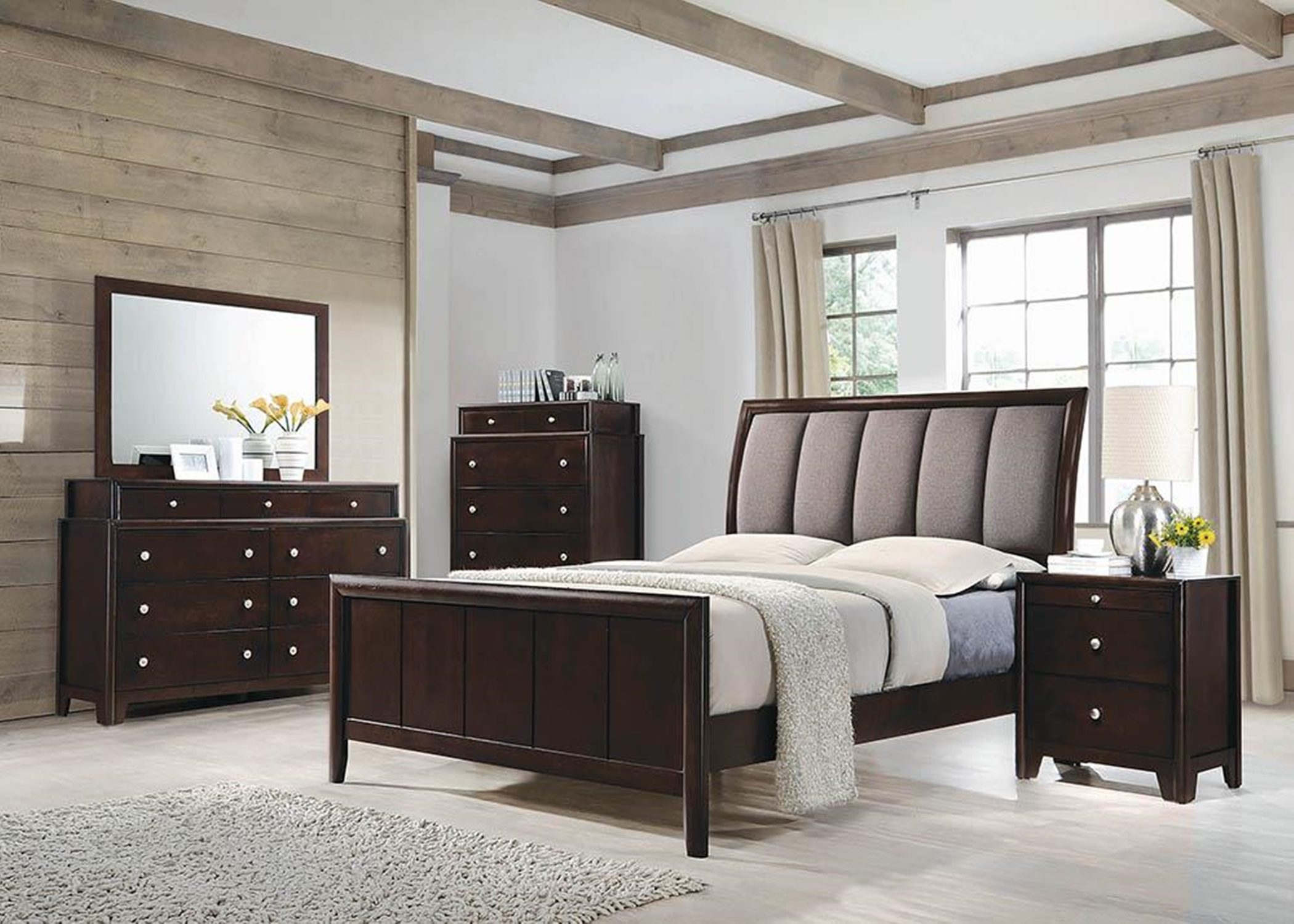 Madison Transitional Dark Merlot Queen Bed