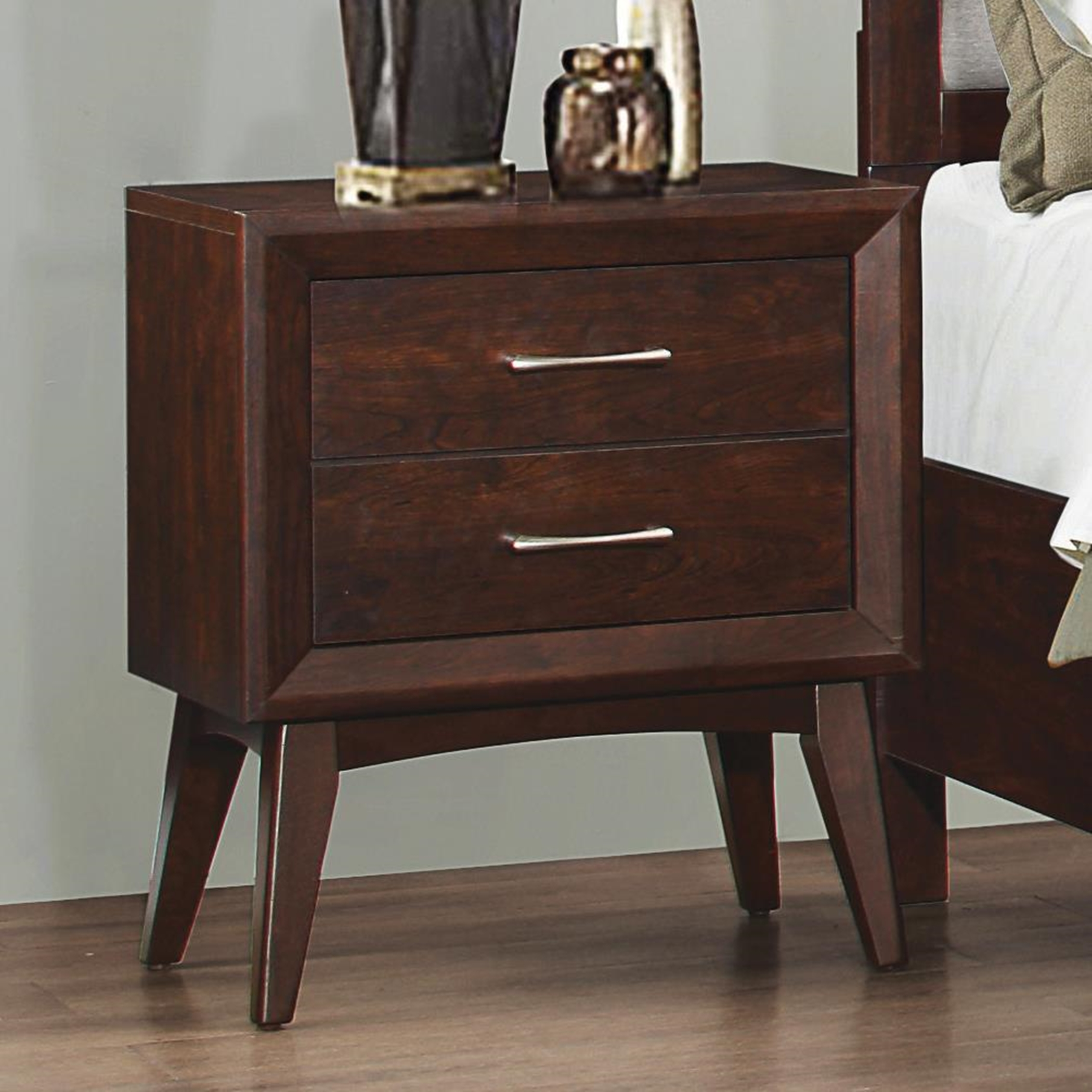 Carrington Mid-Century Two-Drawer Nightstand