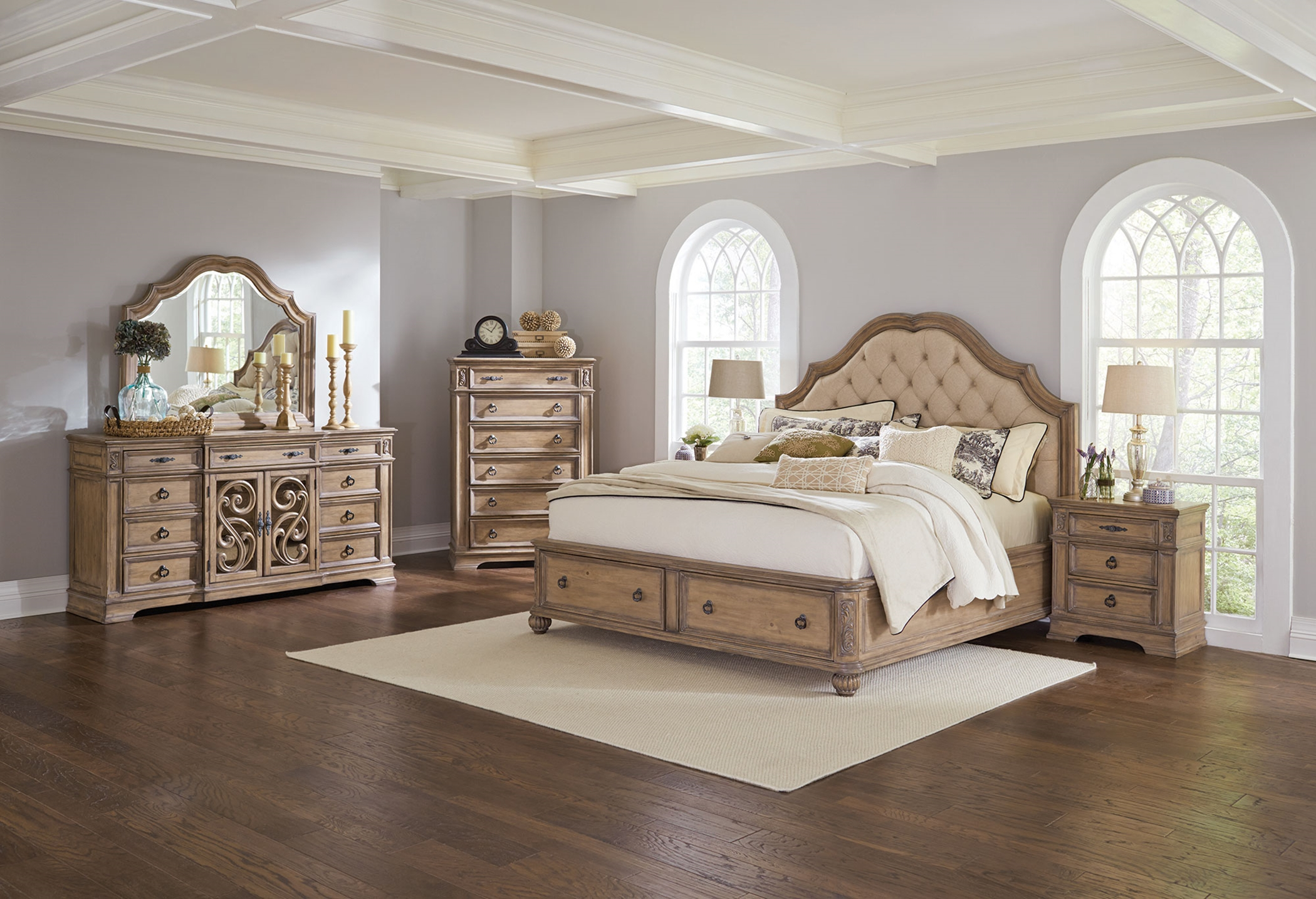 Ilana Antique Linen Cal. King Storage Bed 5-Pc.
