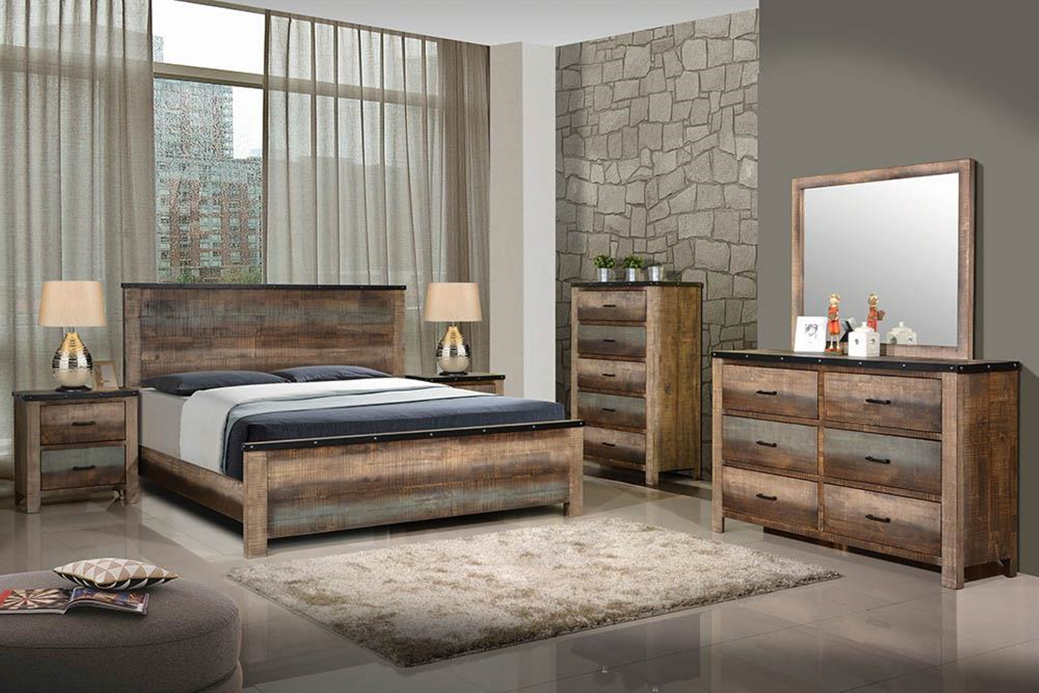 Sembene Rustic Antique Multi-Color Queen Bed