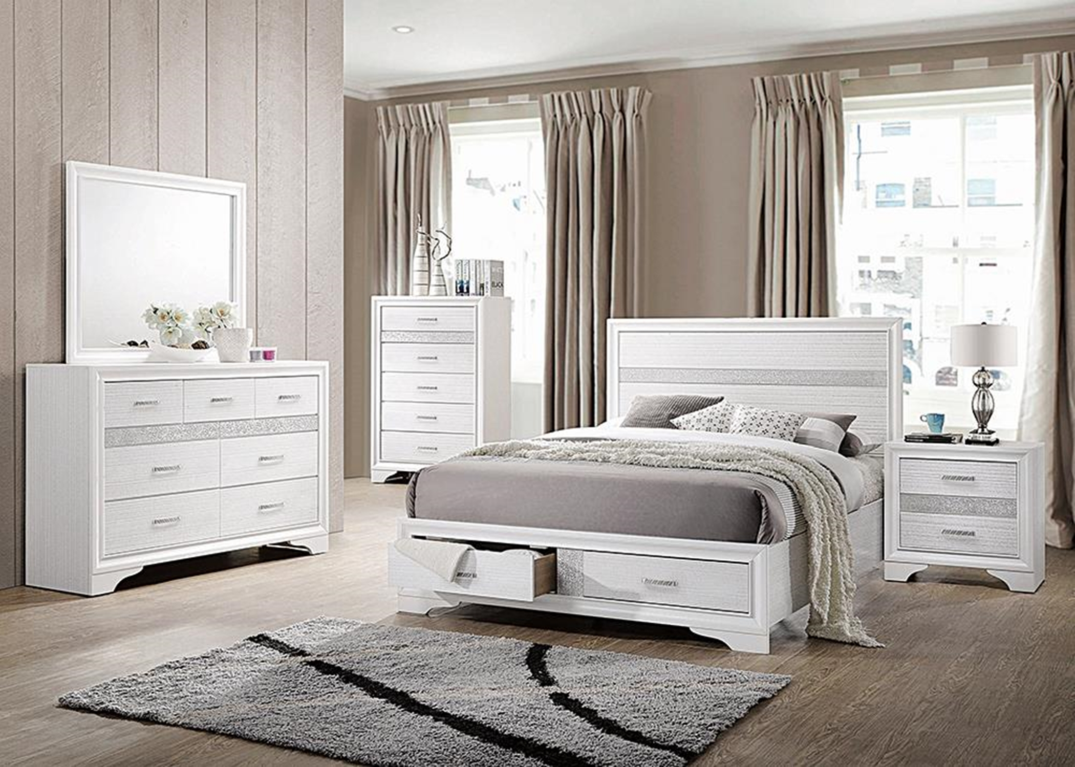 Miranda White Queen Storage Bed