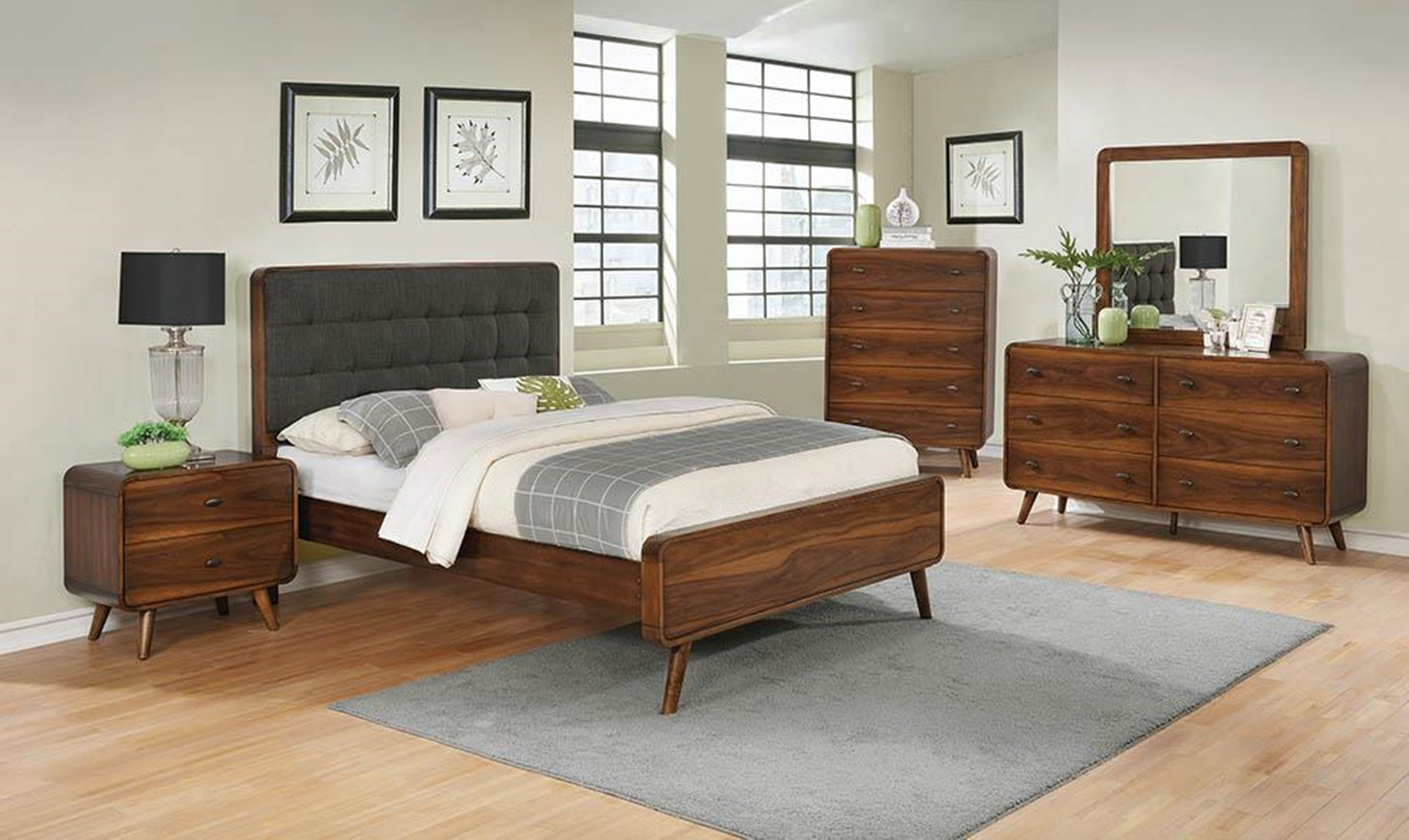 Robyn Mid-Century Dark Walnut Queen Bed