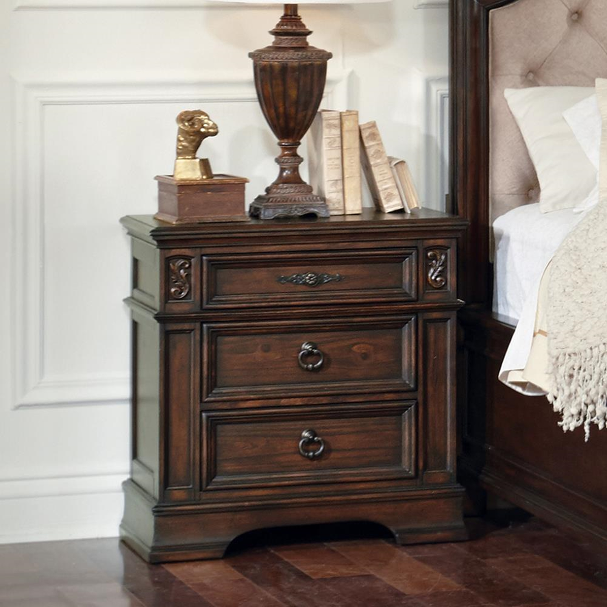 Ilana Antique Java Three-Drawer Nightstand