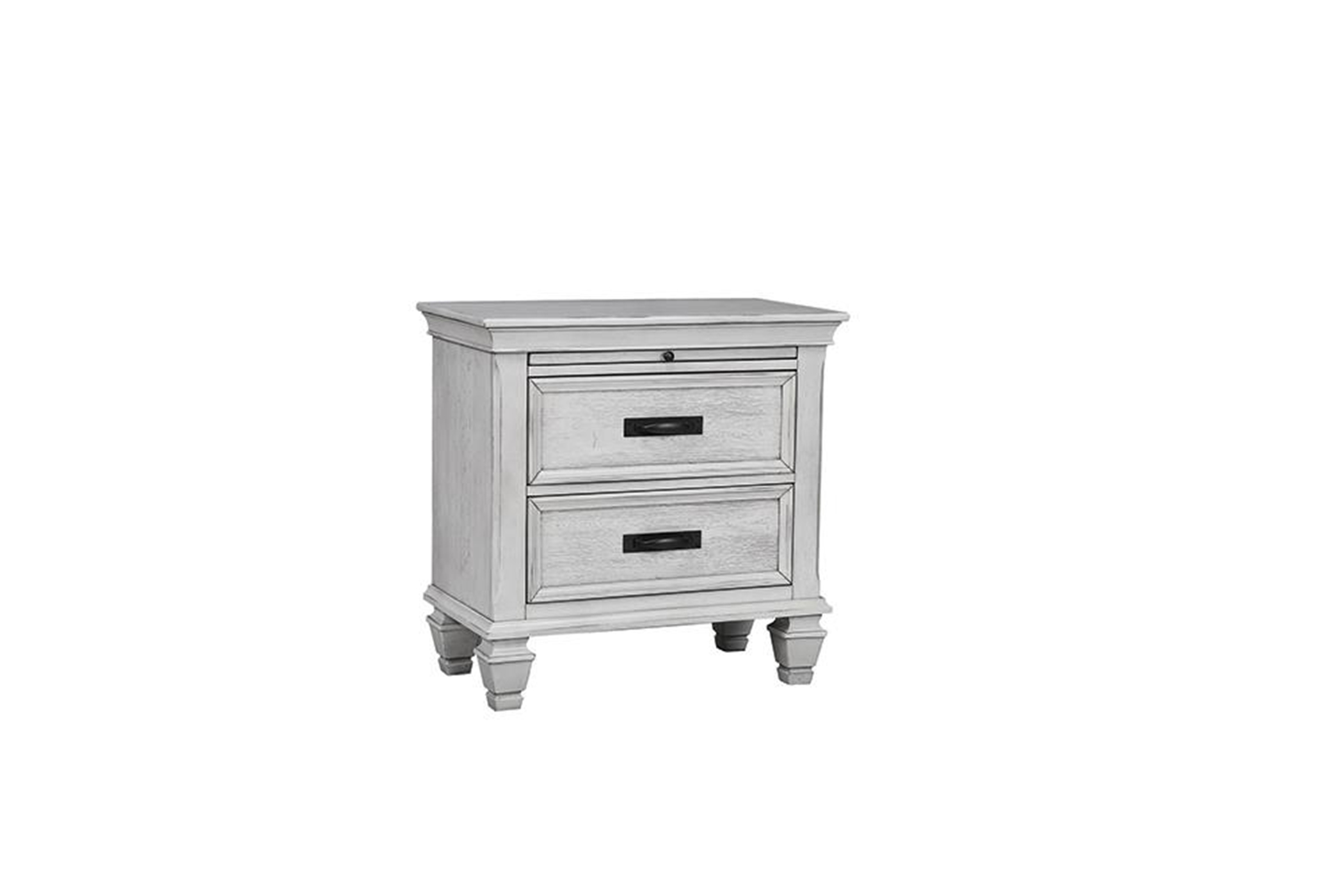 Franco Antique White Nightstand With Tray