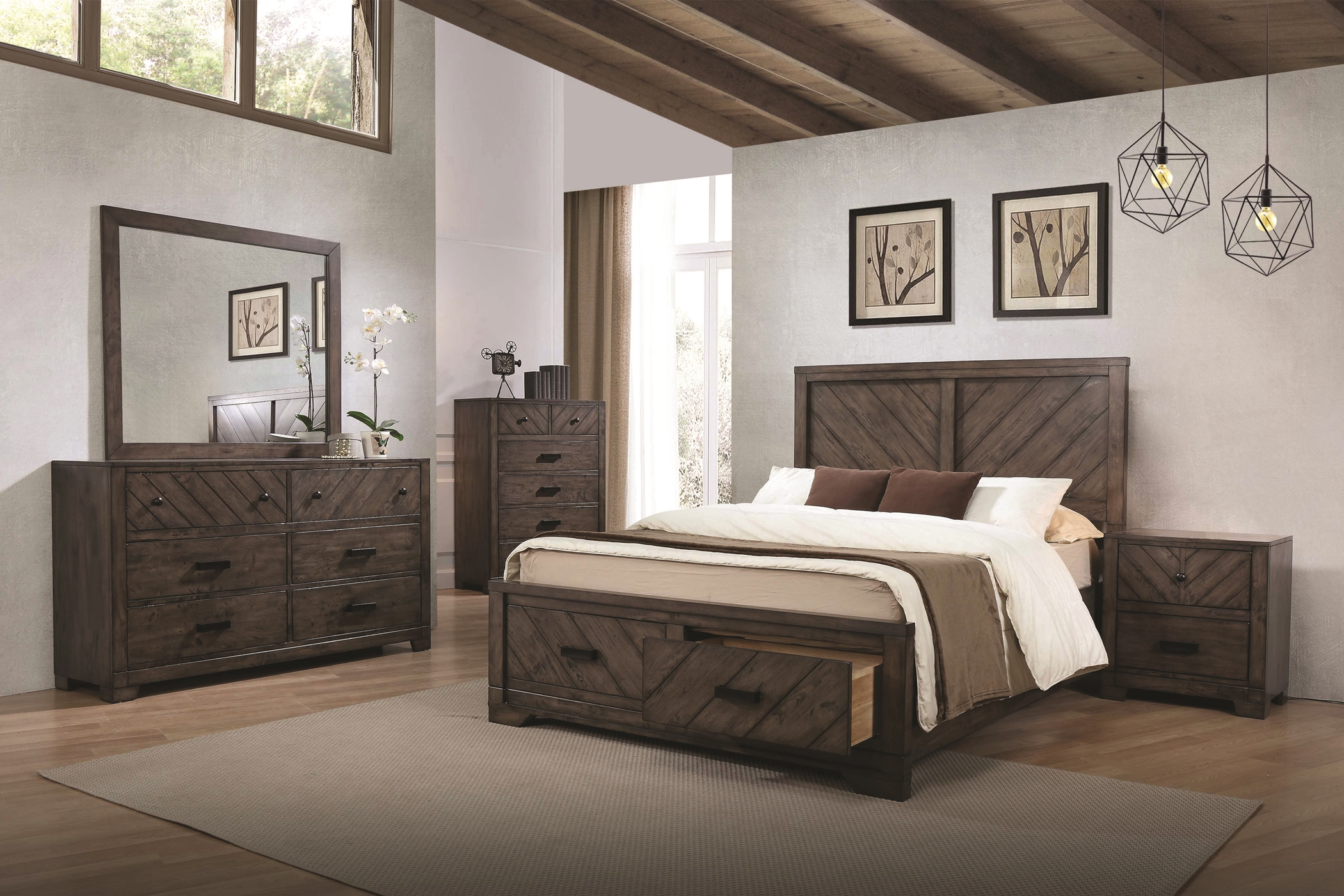 Lawndale Rustic Weathered Grey E. King 5-Pc.