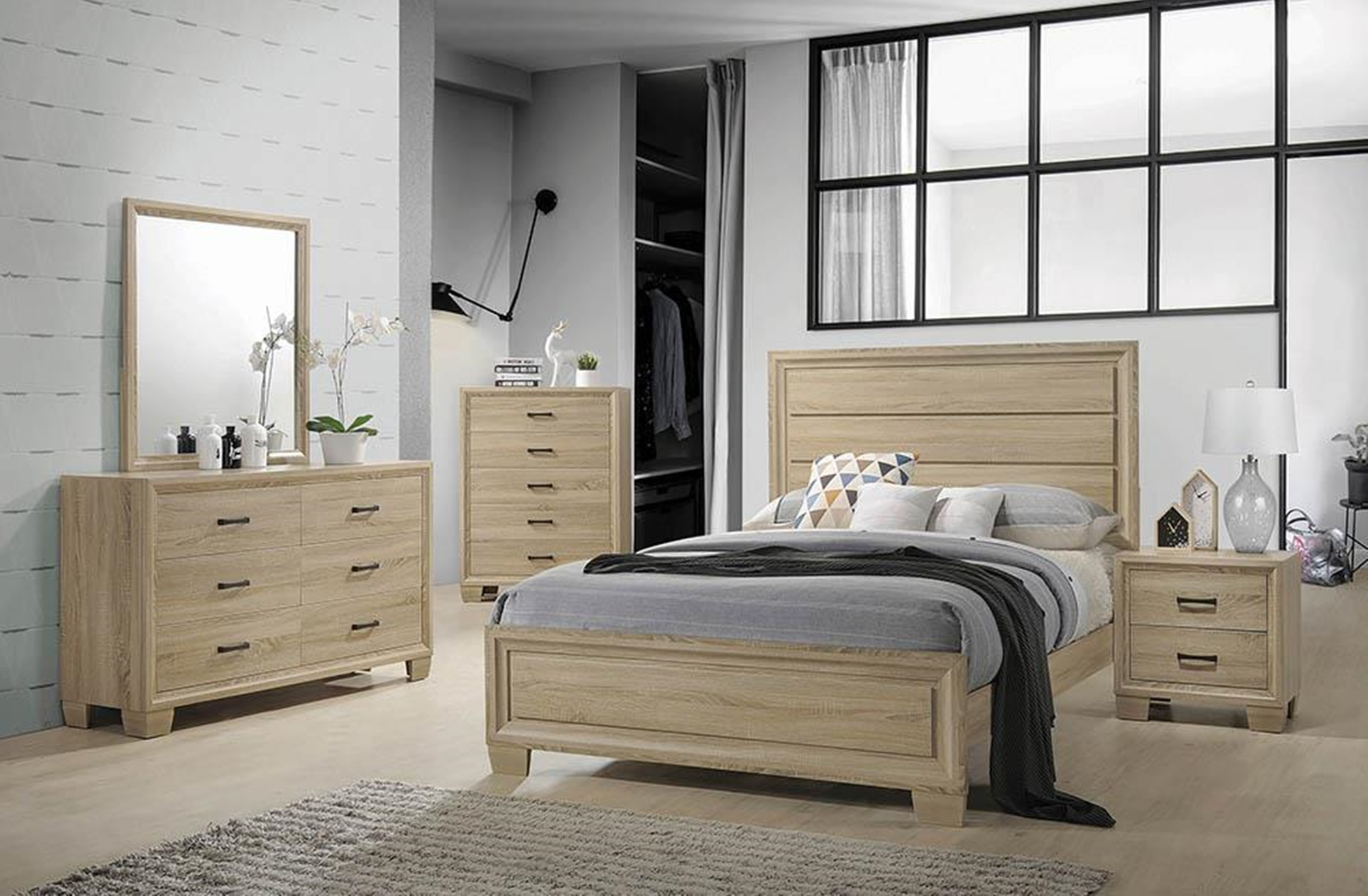 Vernon Whitewashed Oak Queen Bed