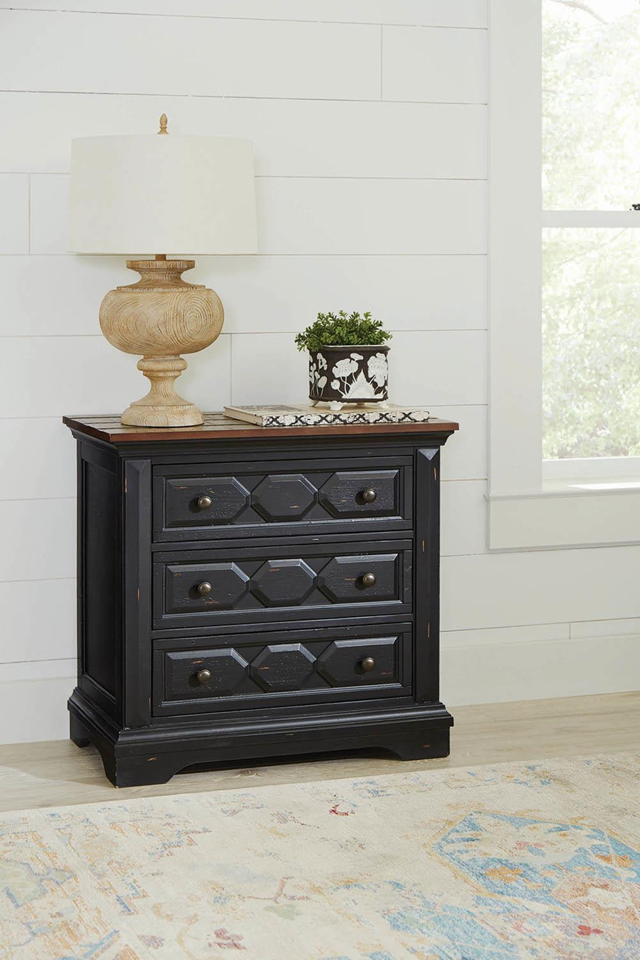 Traditional Rustic Latte Nightstand