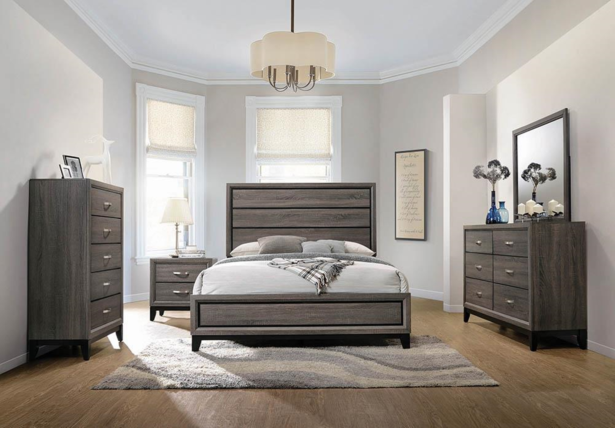 Rustic Grey Oak Queen Bed