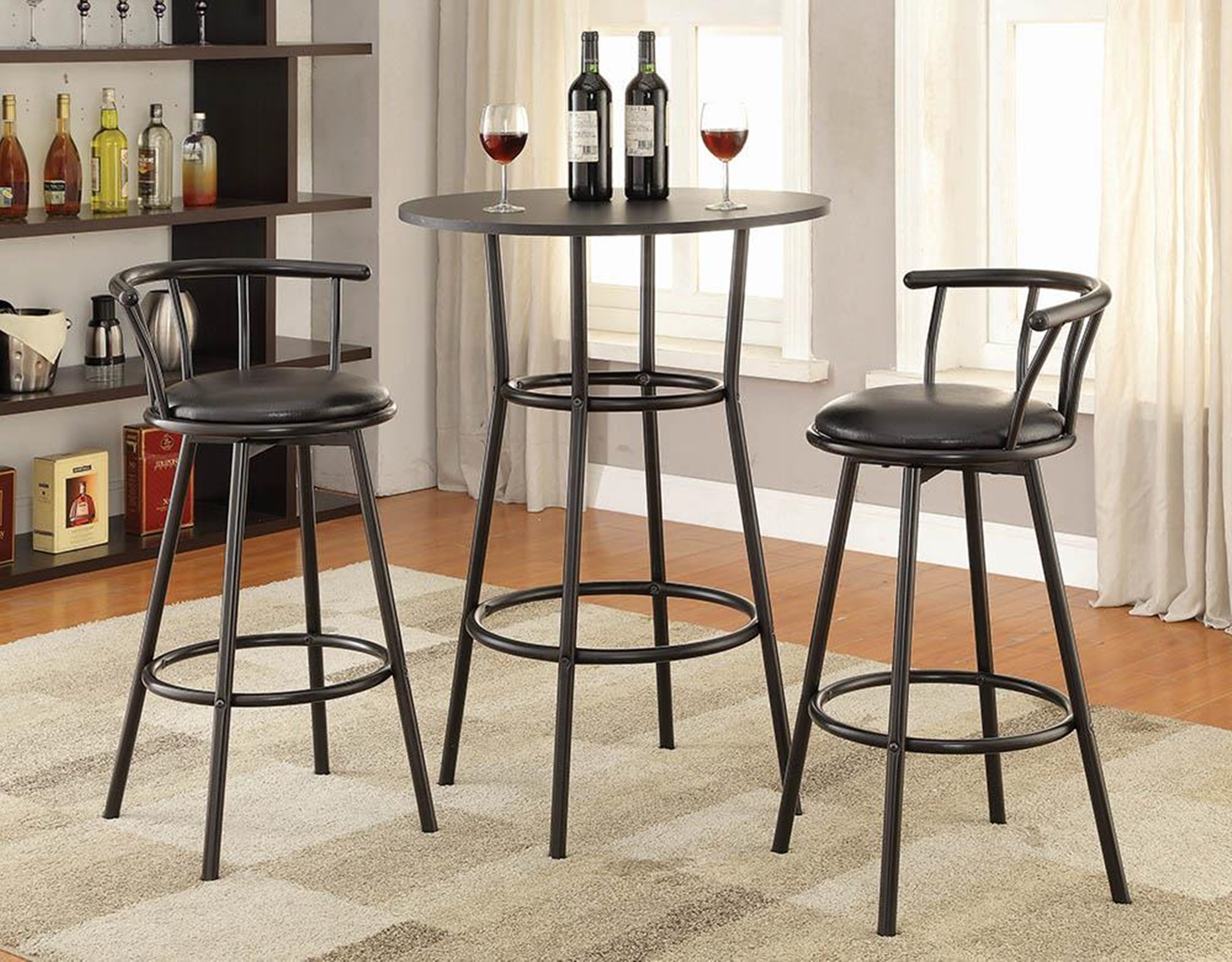 2383 - Contemporary Black Bar-Height Table