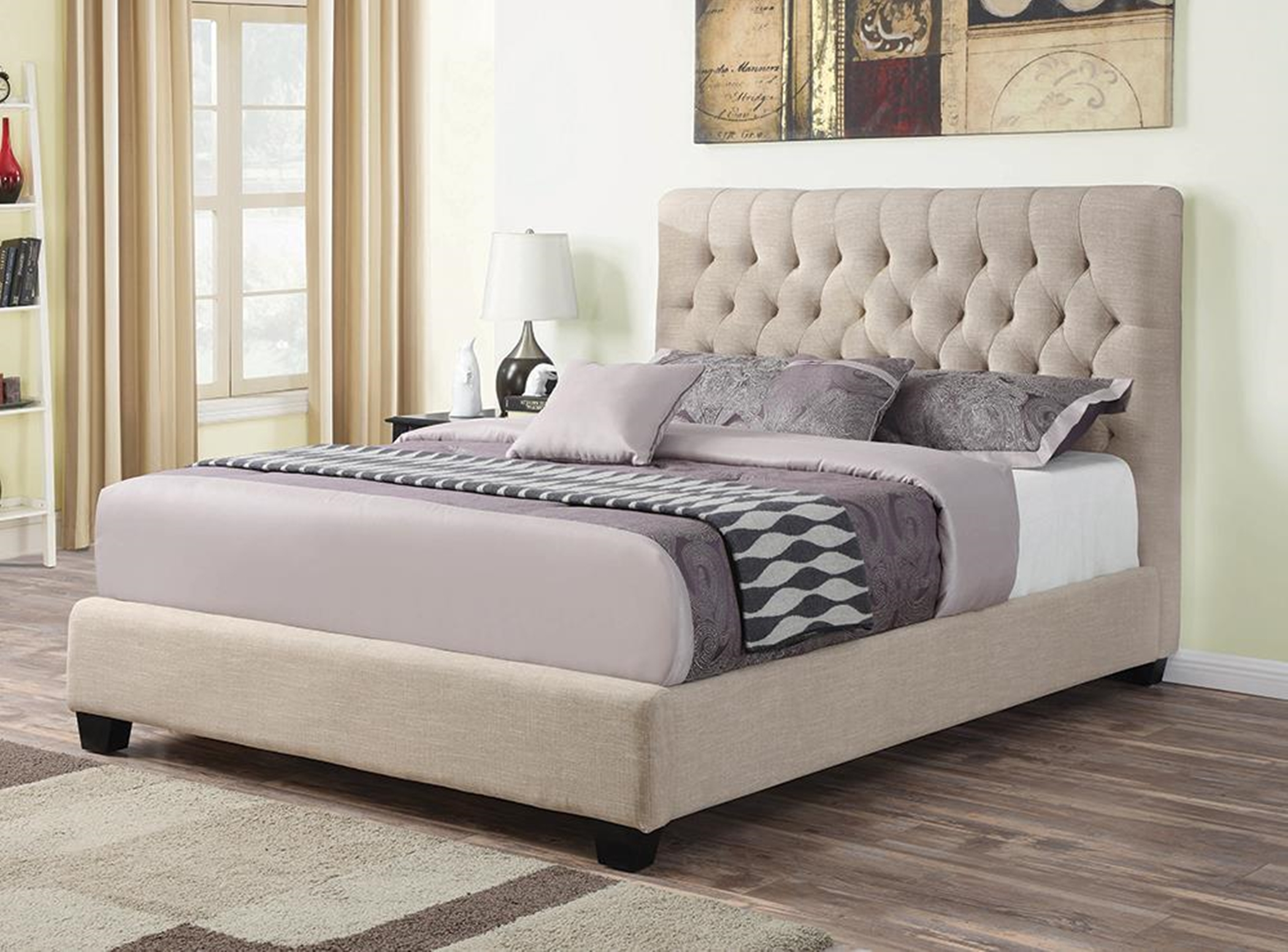 Chloe Oatmeal Upholstered Cal. King Bed