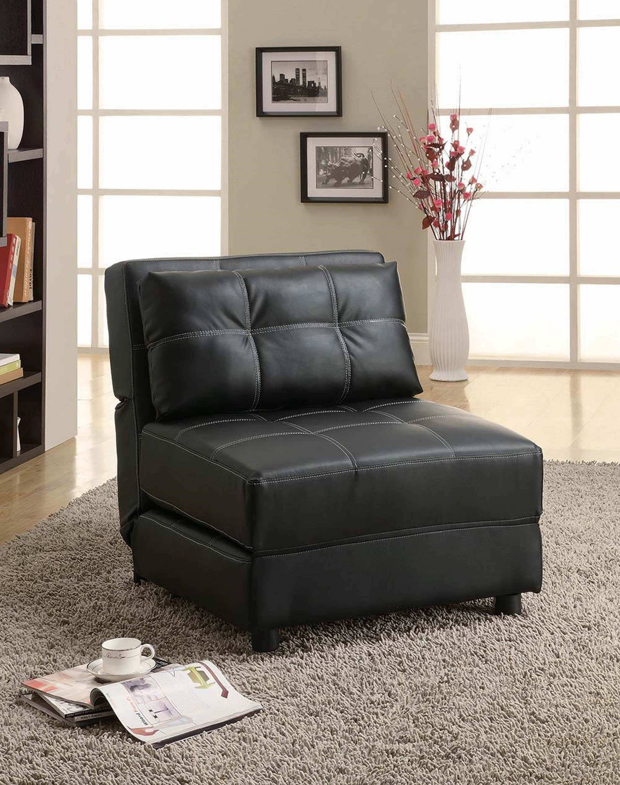 Black Casual Leather Accent Chair