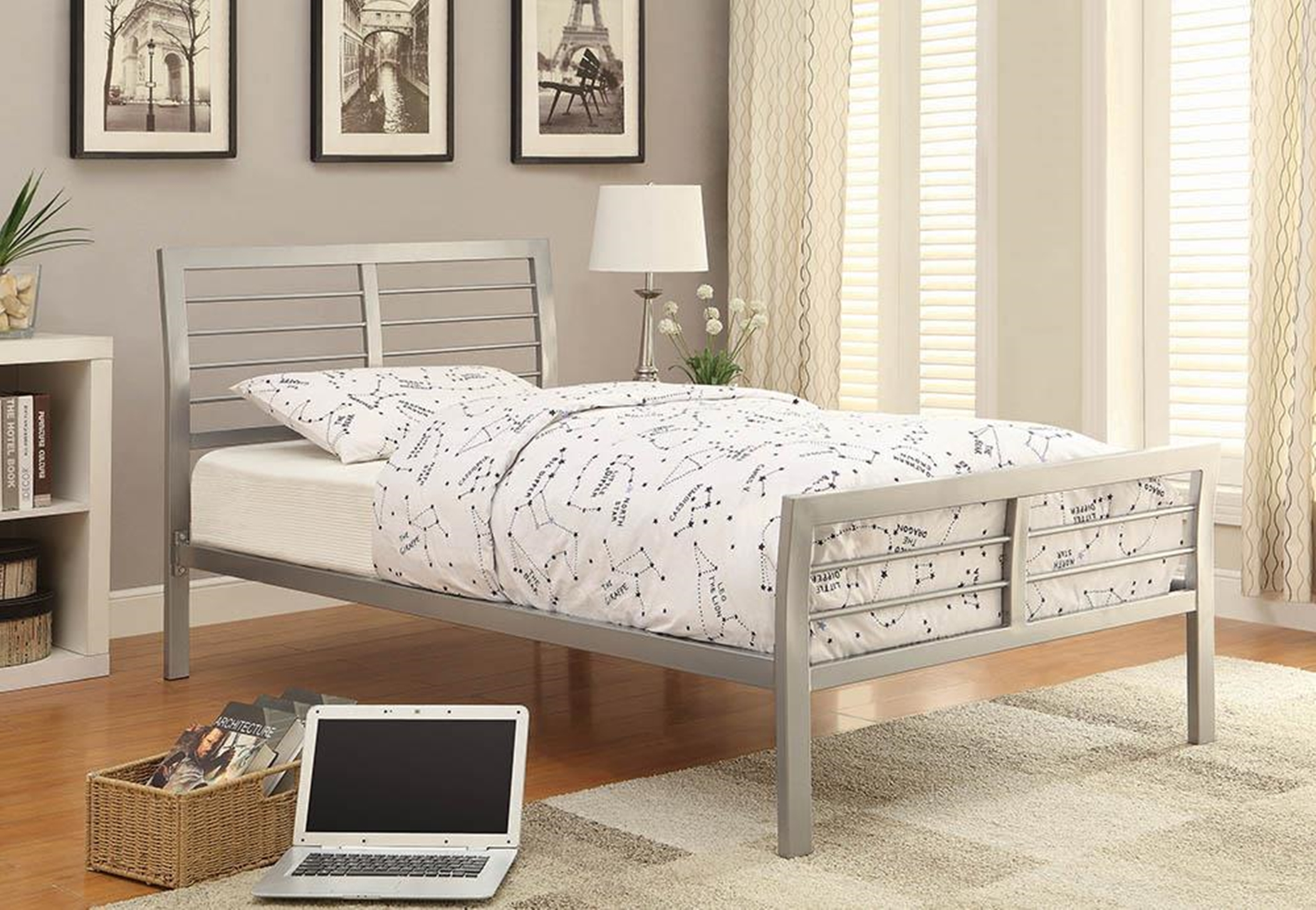 Cooper Silver Metal Twin Bed