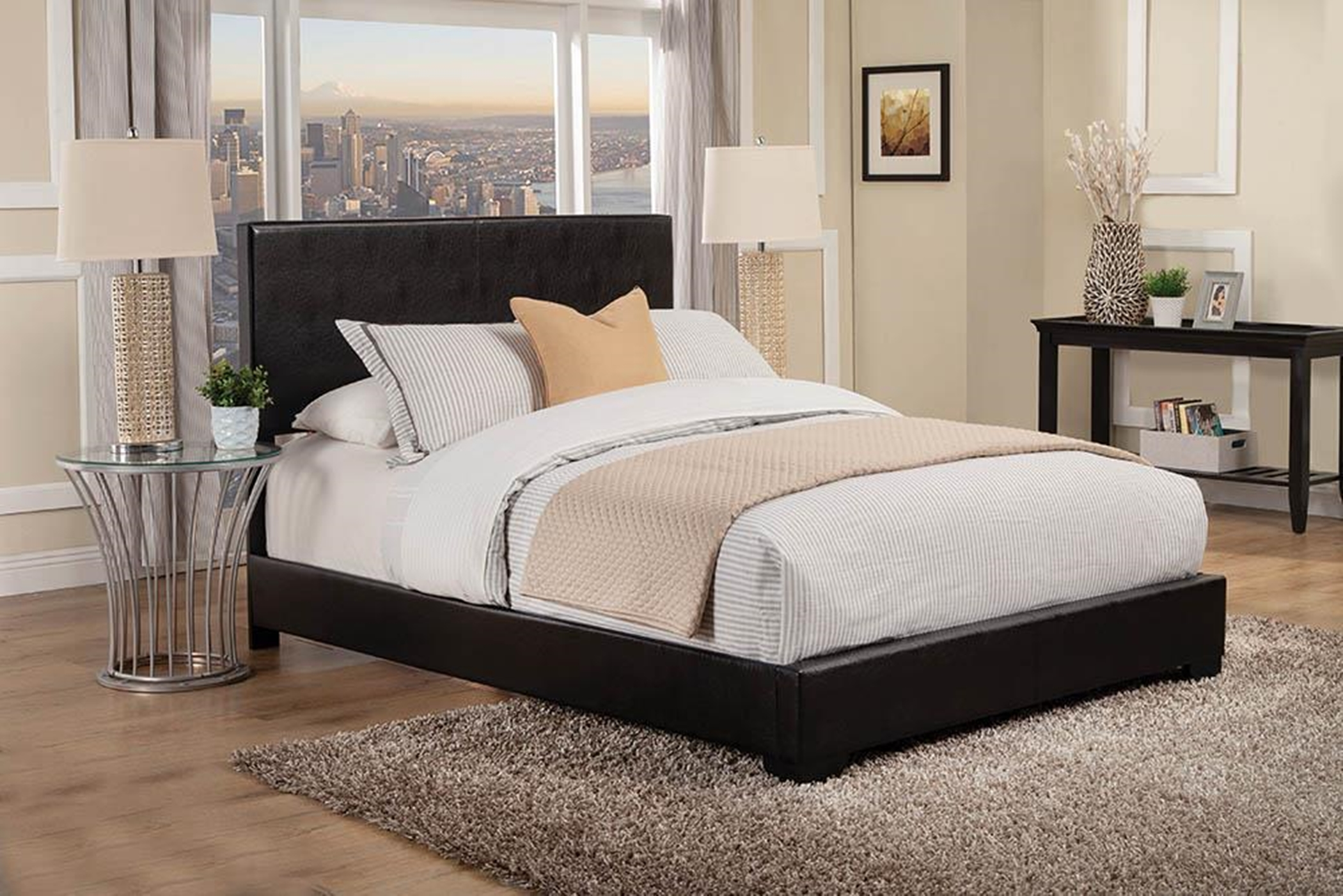 Conner Casual Black Upholstered Cal. King Bed