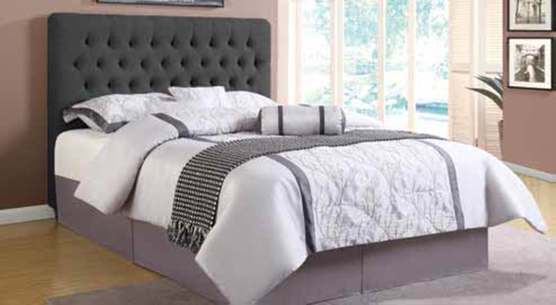 Chloe Charcoal Upholstered Queen Headboard