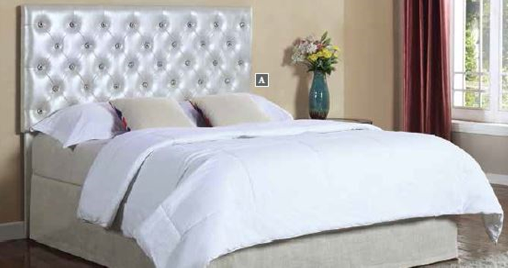Carlo Silver Upholstered Q/F LED Headboard