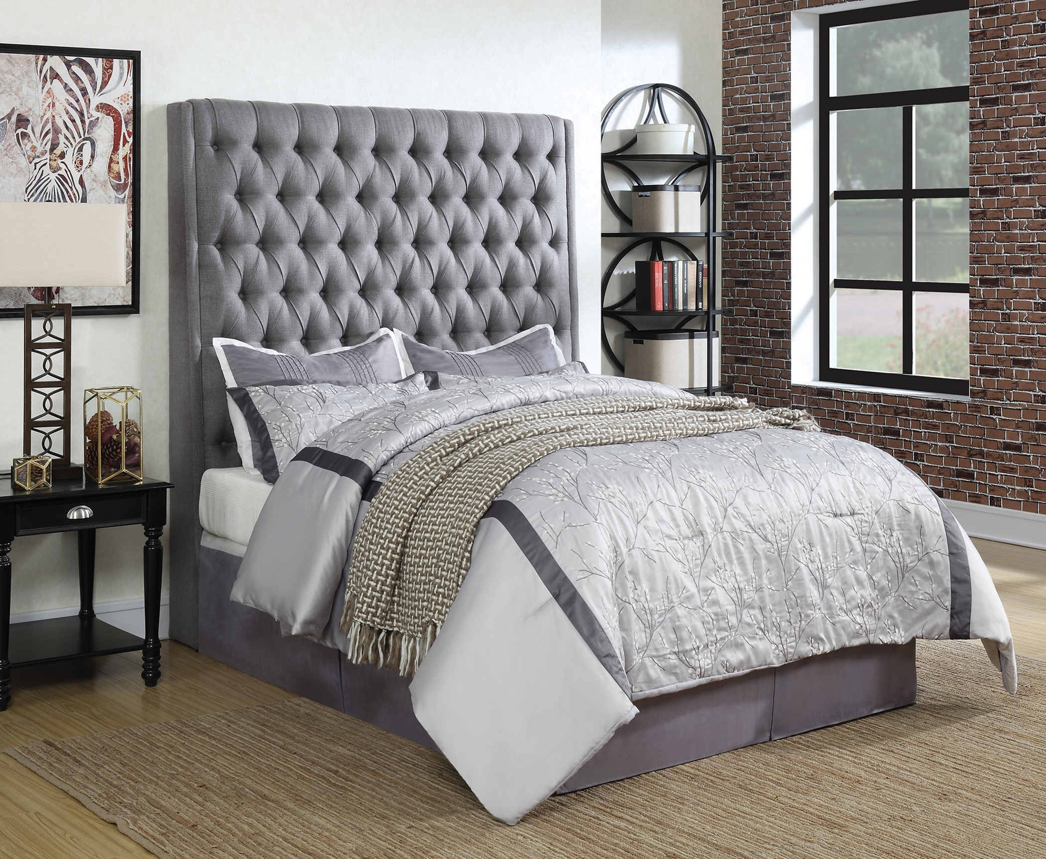 Camille Grey Upholstered Queen Headboard