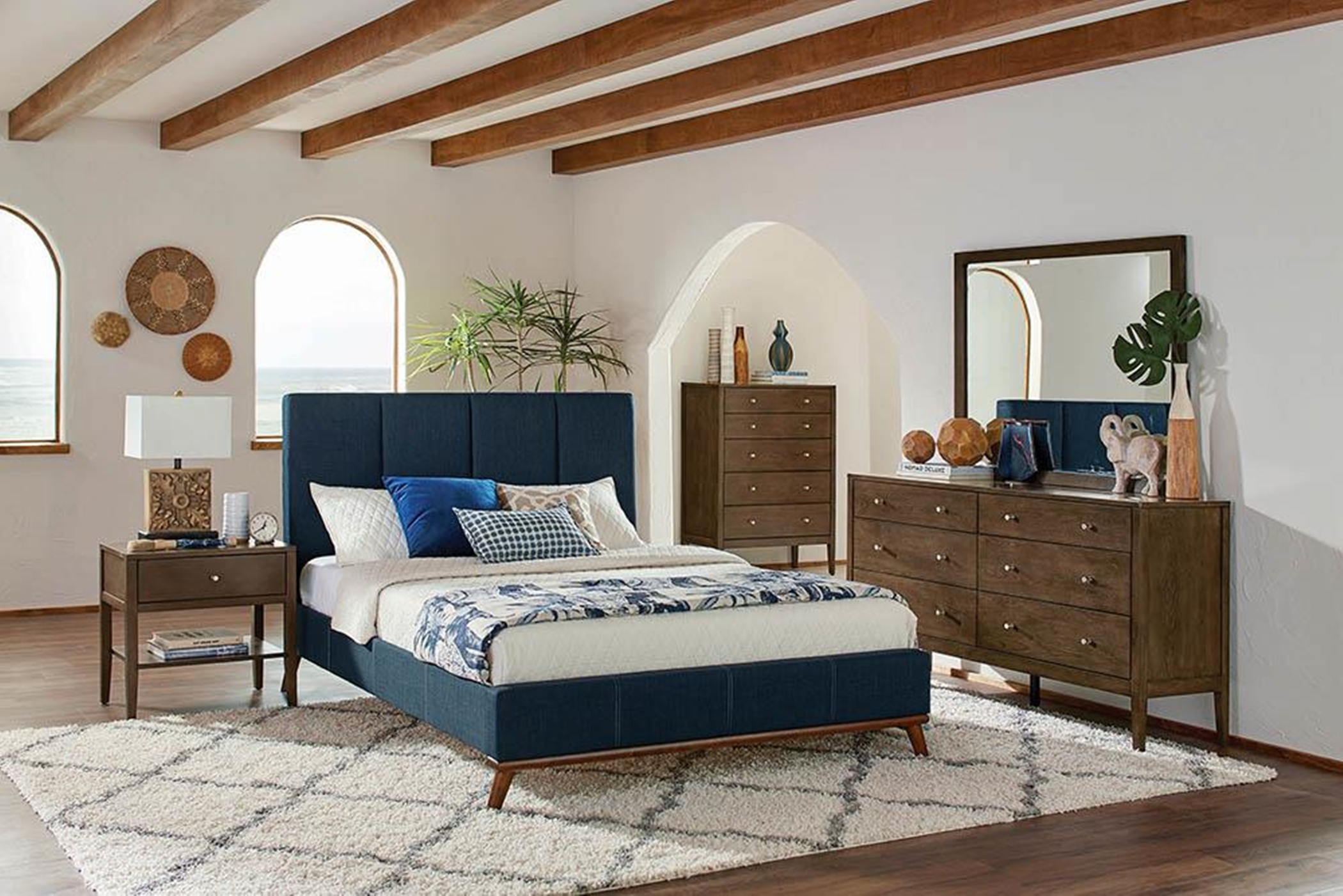 Charity Blue Upholstered King Bed
