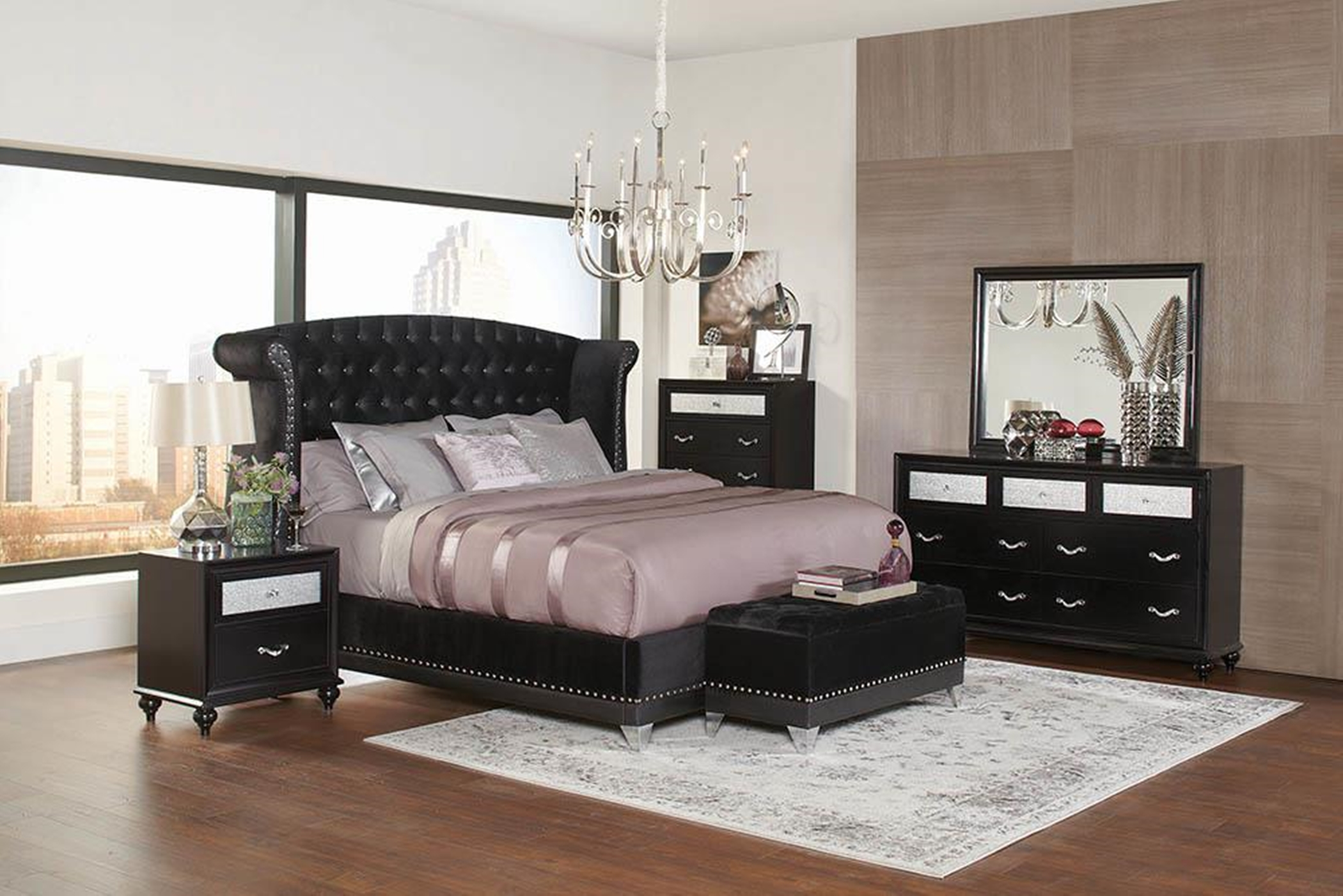 Barzini Black Upholstered Cal. King Bed