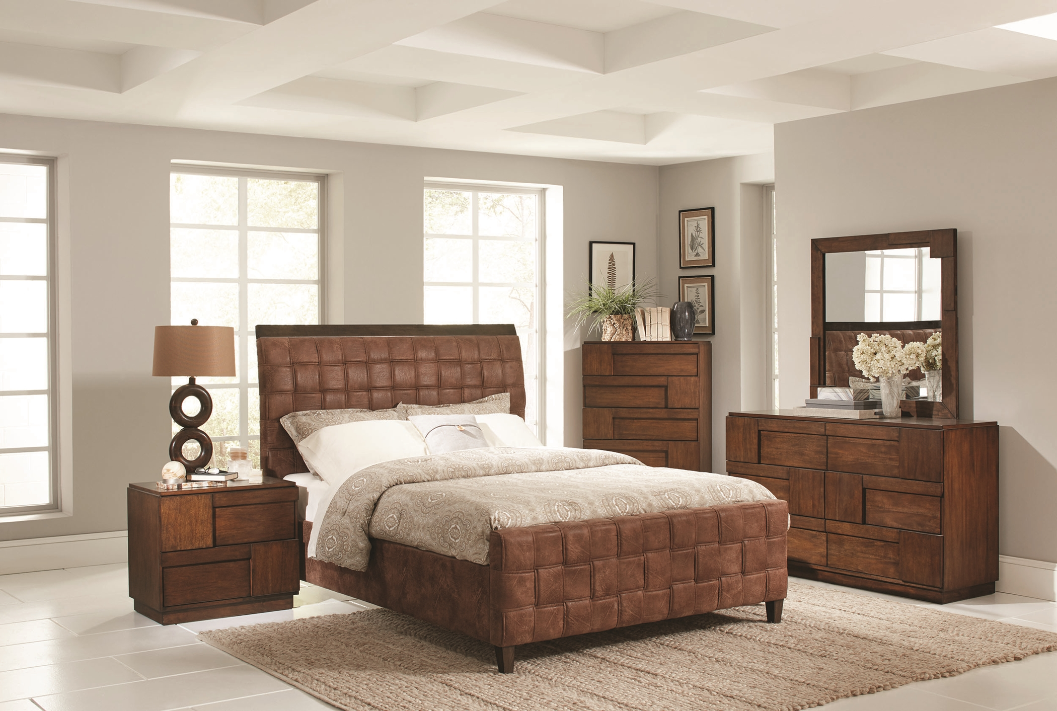 Gallagher Brown Upholstered Twin Bed