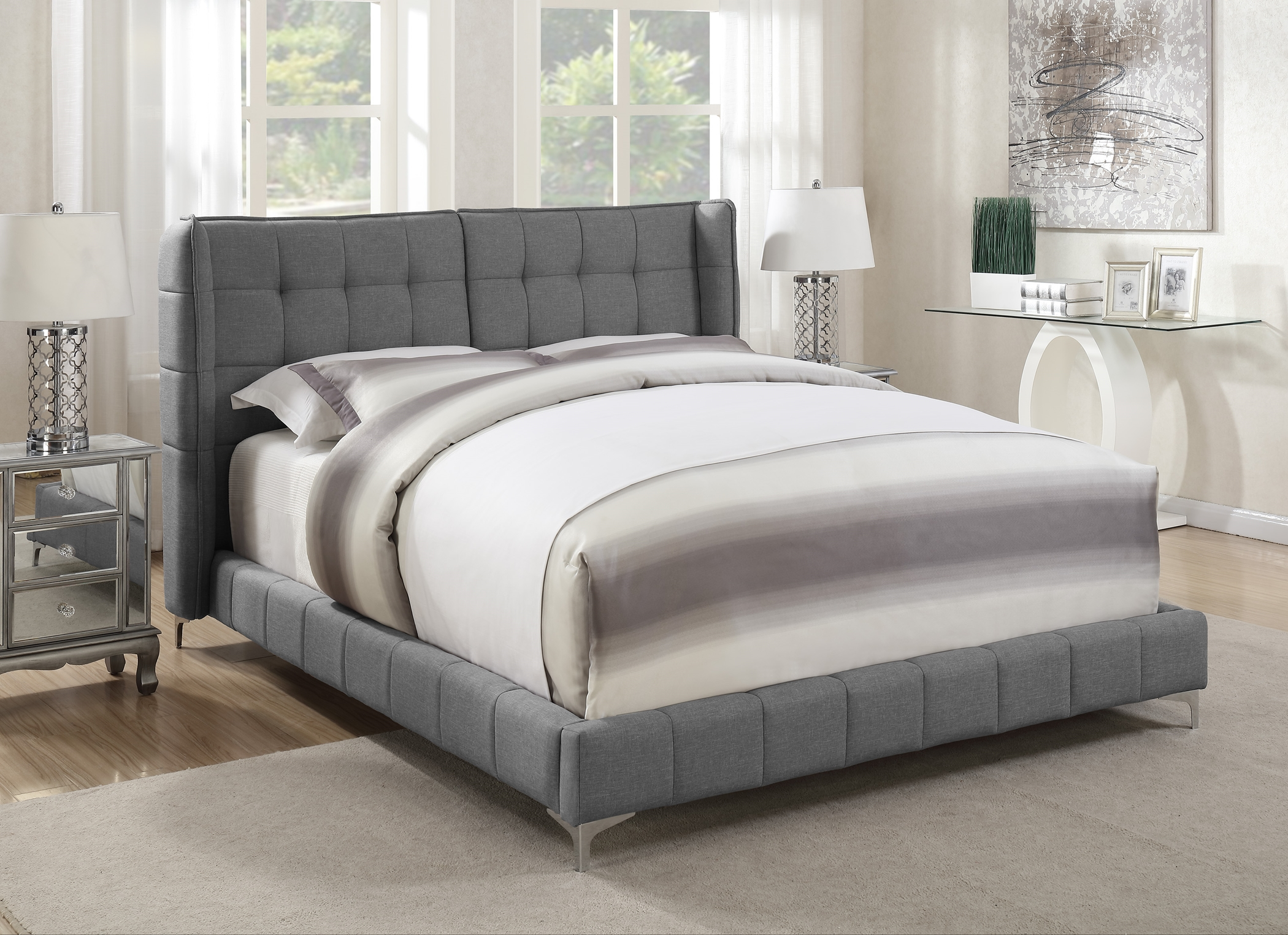 Goleta Grey Upholstered Full Bed Box One