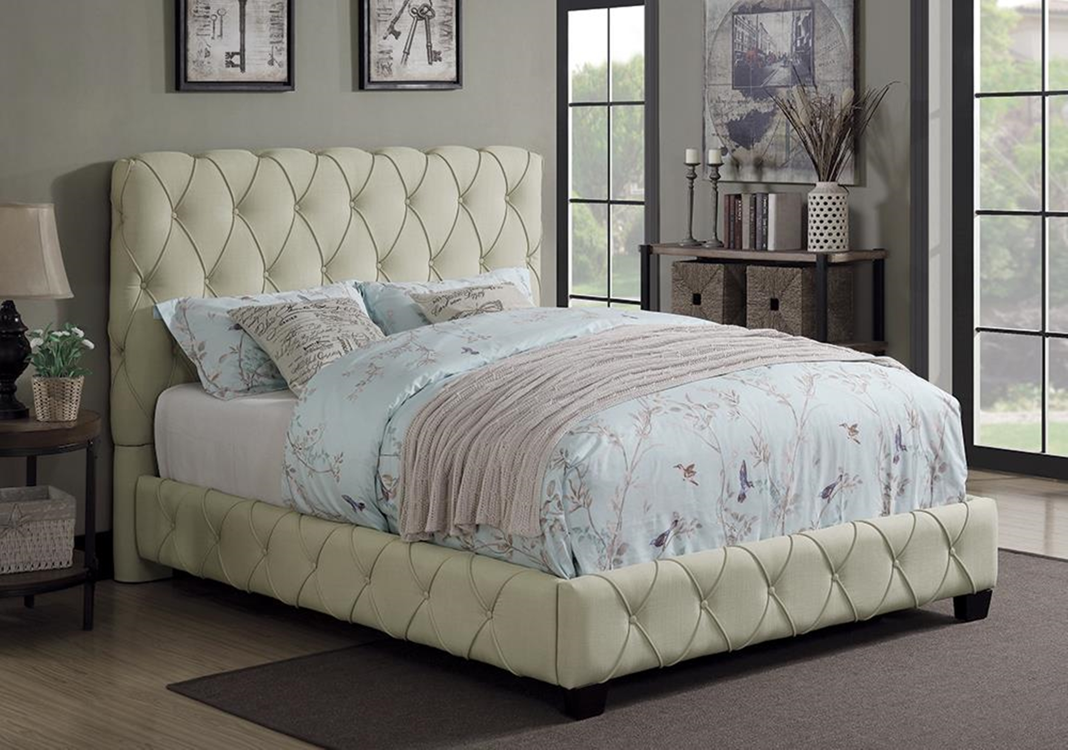 Elsinore Beige Upholstered Full Bed