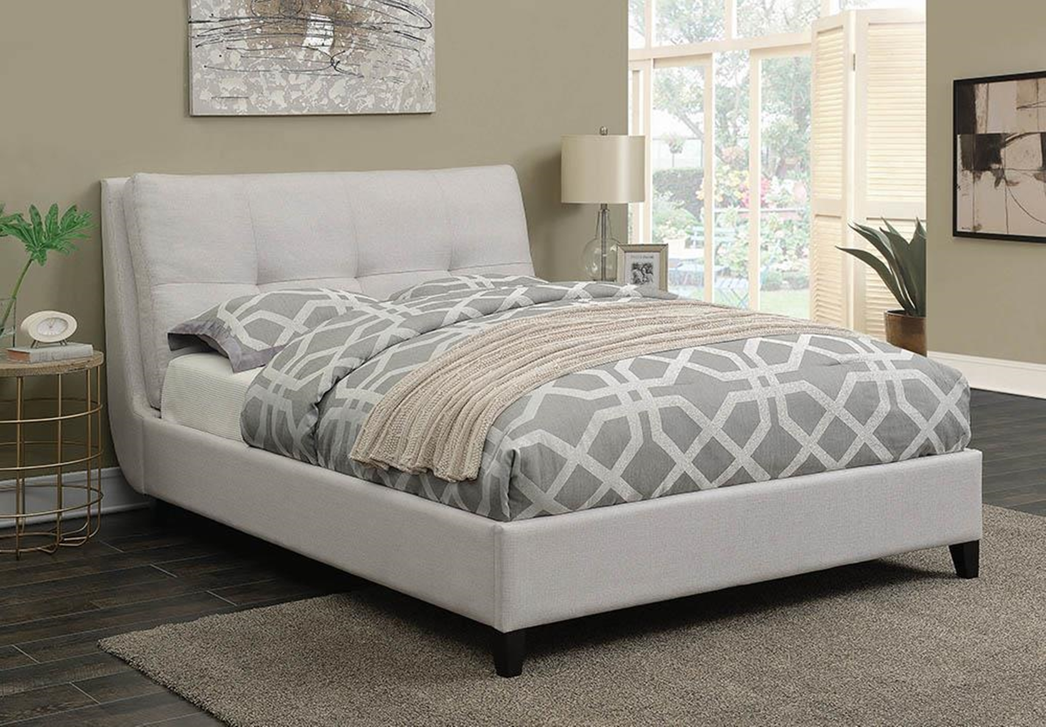Amador Beige Upholstered Cal. King Platform Bed