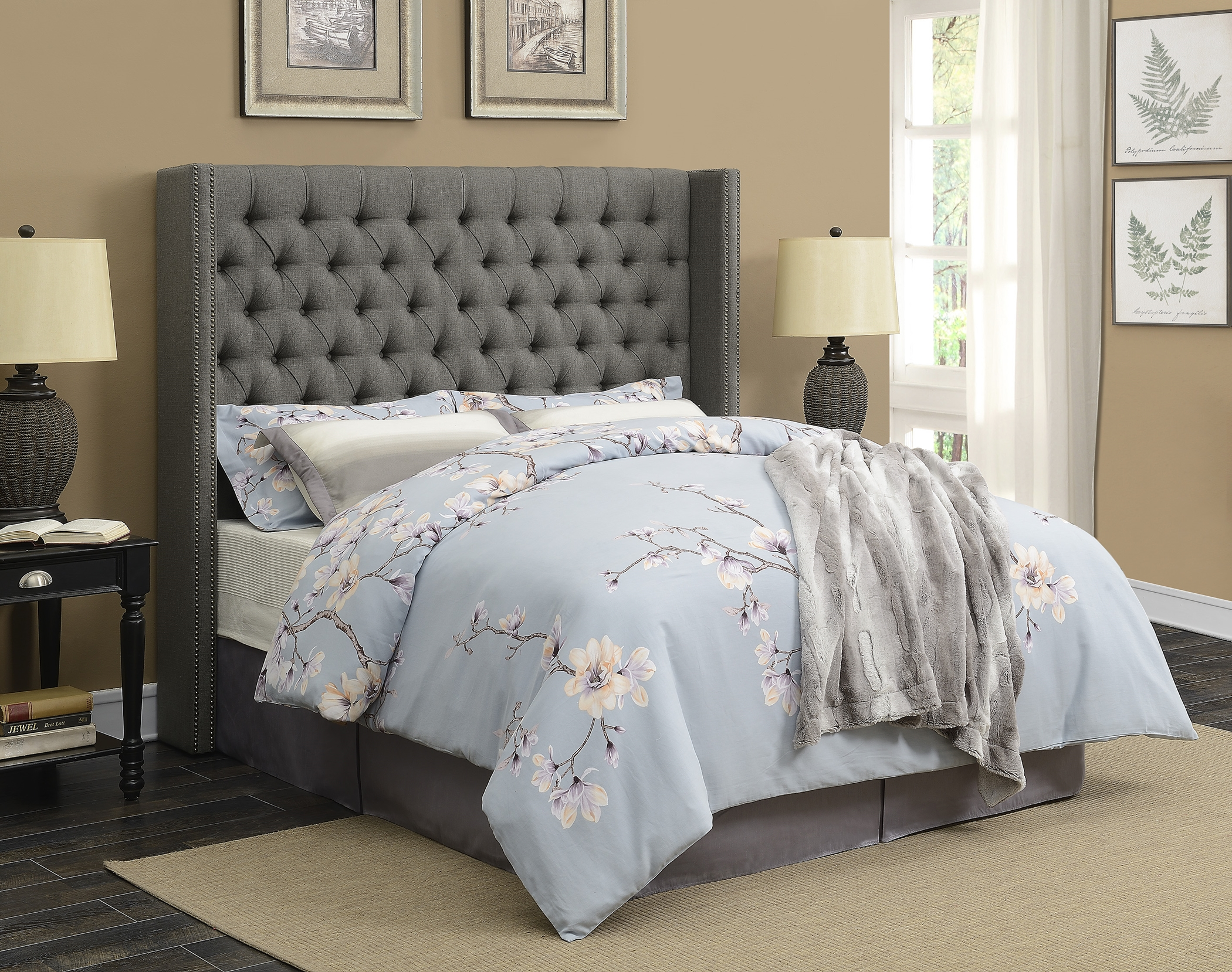Benicia Grey Upholstered Cal. King Headboard