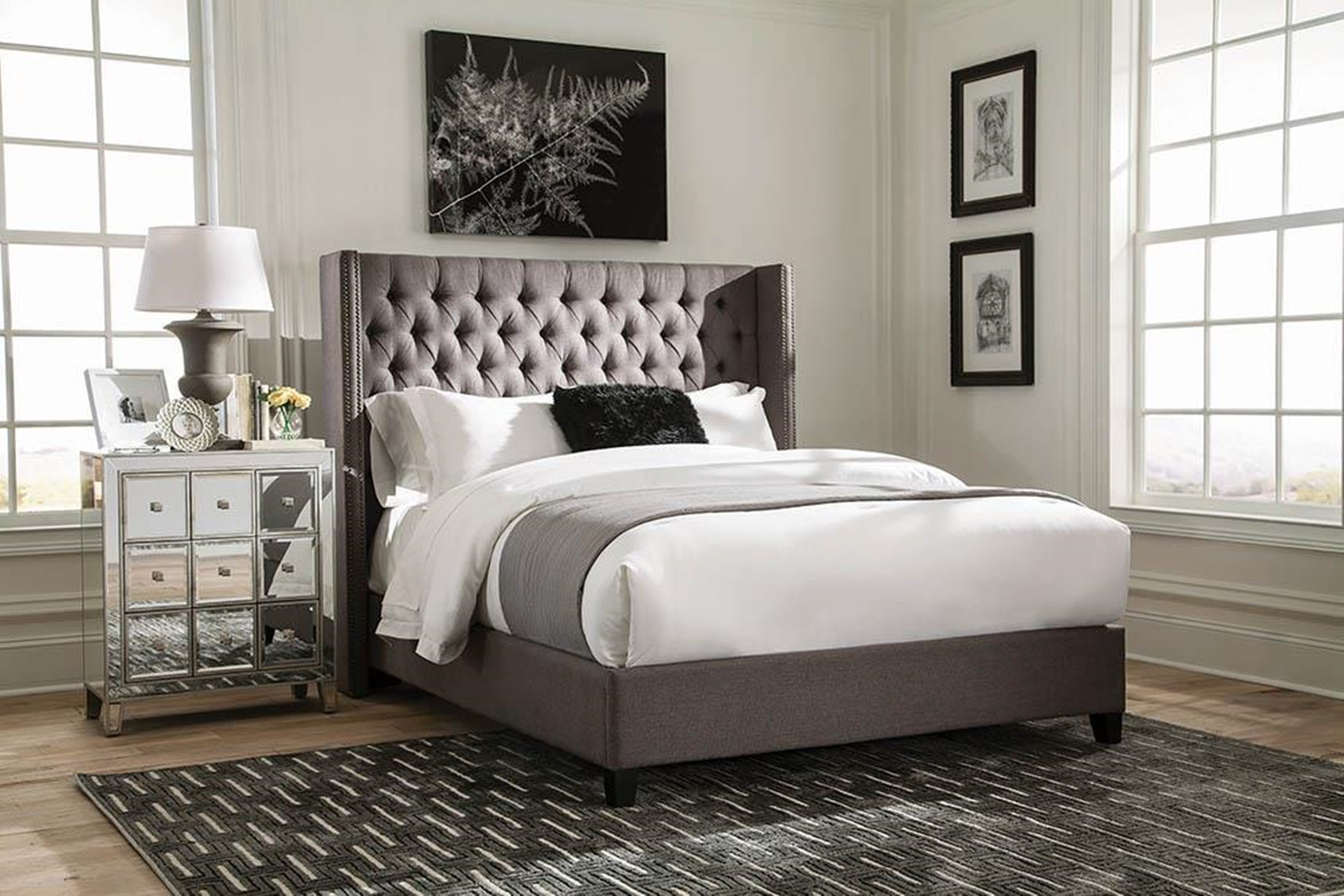 Benicia Grey Upholstered Cal. King Bed