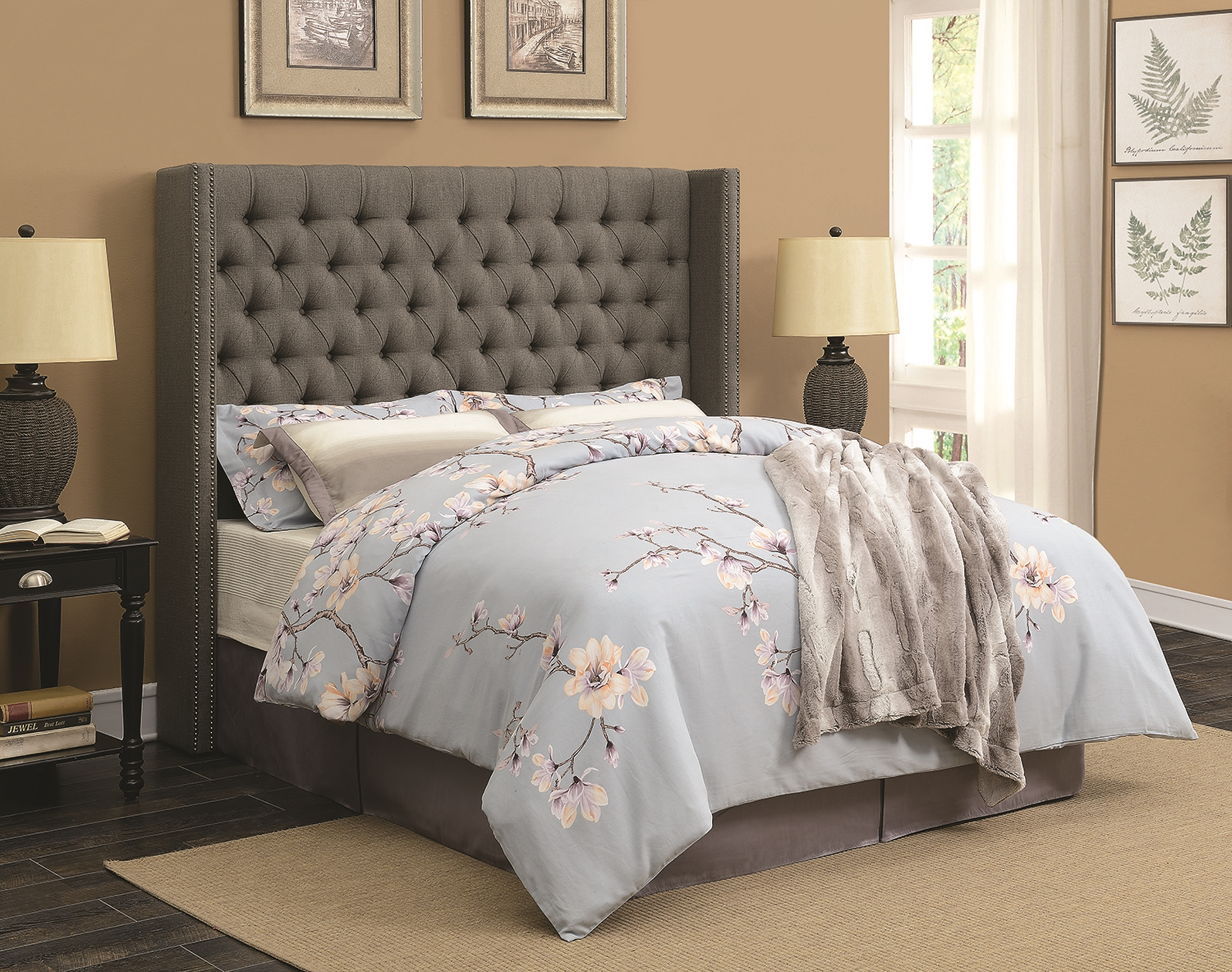 Benicia Grey Upholstered Queen Headboard