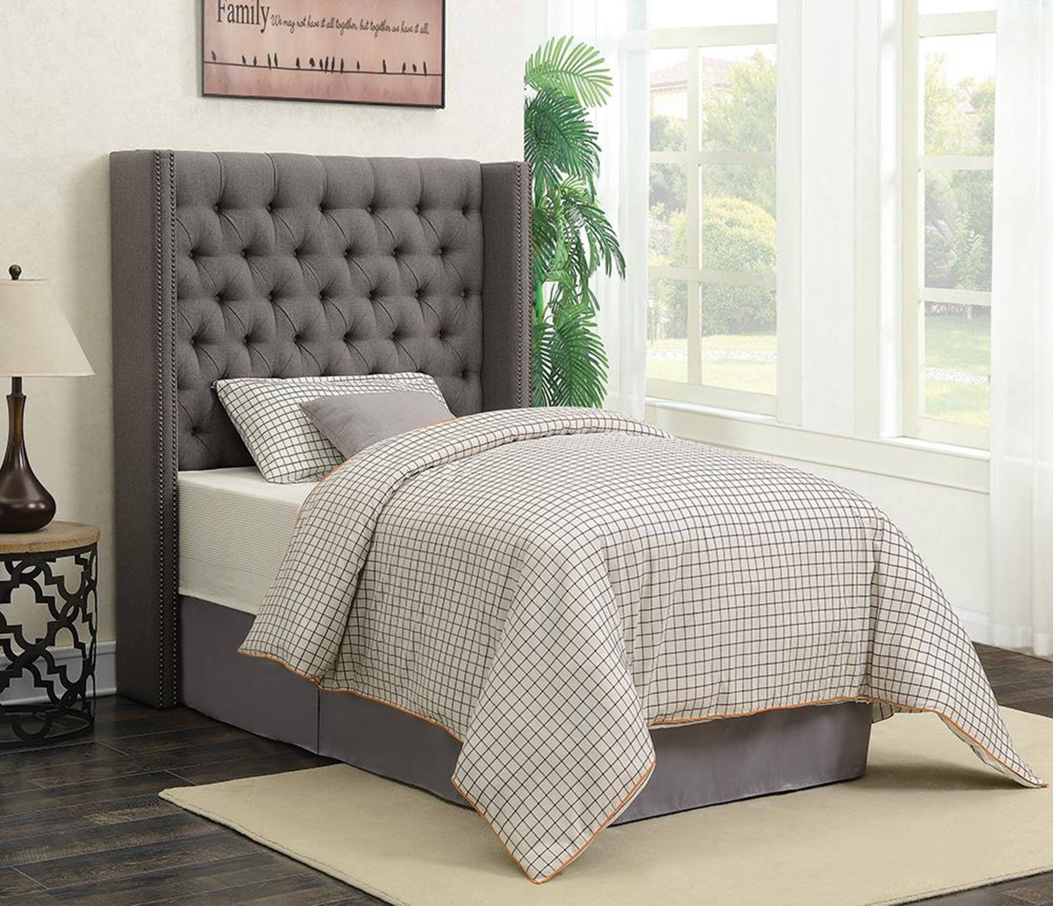 Benicia Grey Upholstered Twin Bed