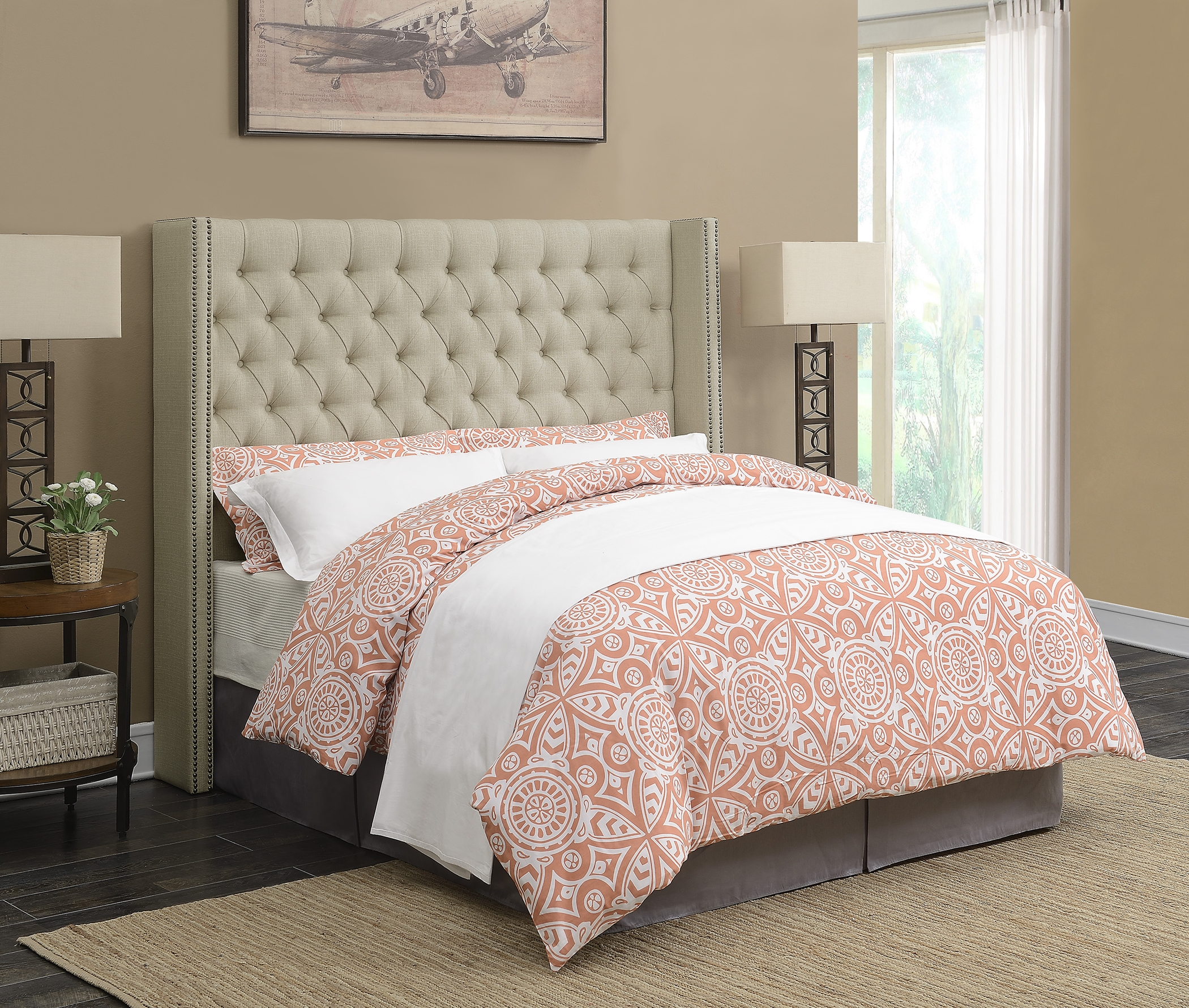 Benicia Beige Upholstered King Headboard