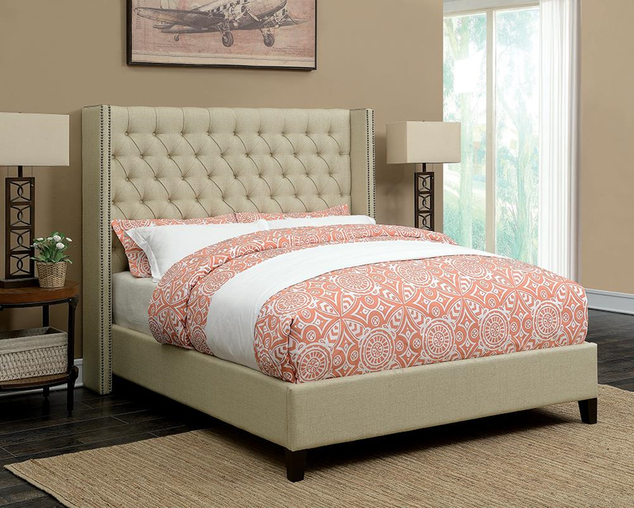 Benicia Beige Upholstered Cal. King Bed