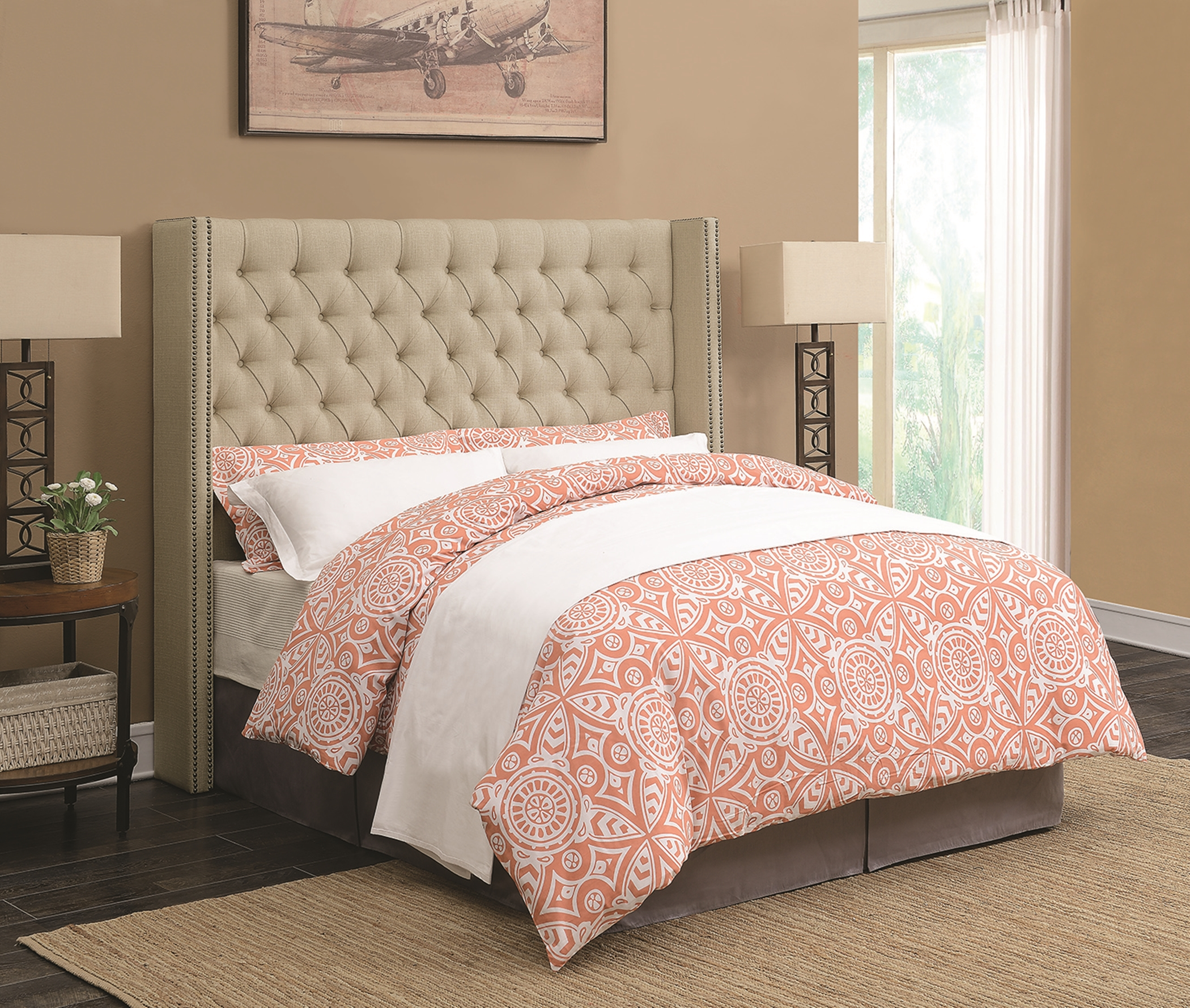 Benicia Beige Upholstered Queen Headboard