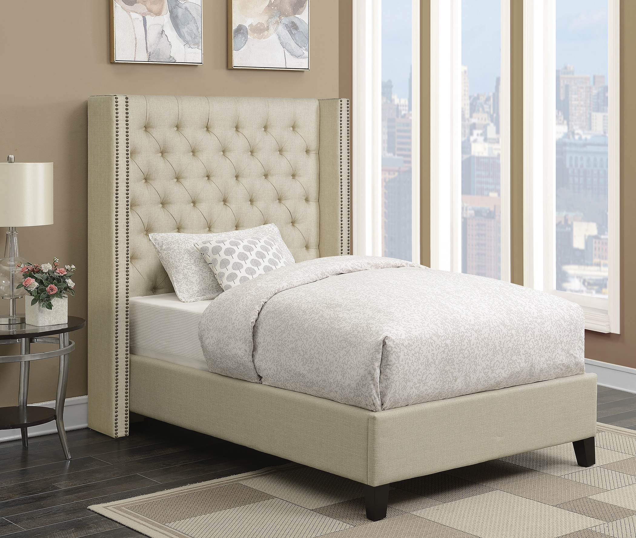 Benicia Beige Upholstered Twin Headboard