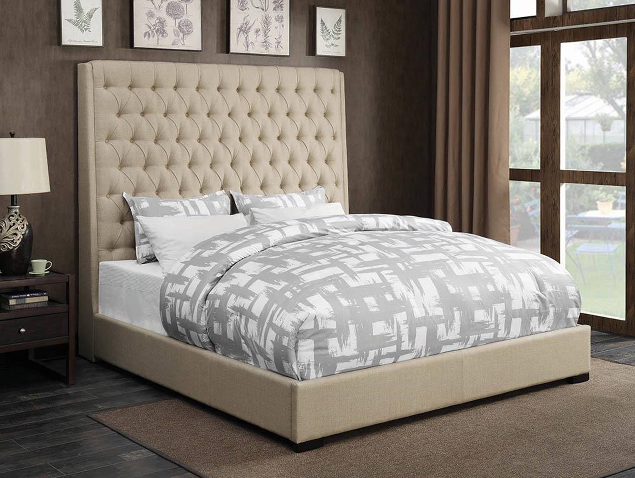 Camille Cream Upholstered Queen Bed