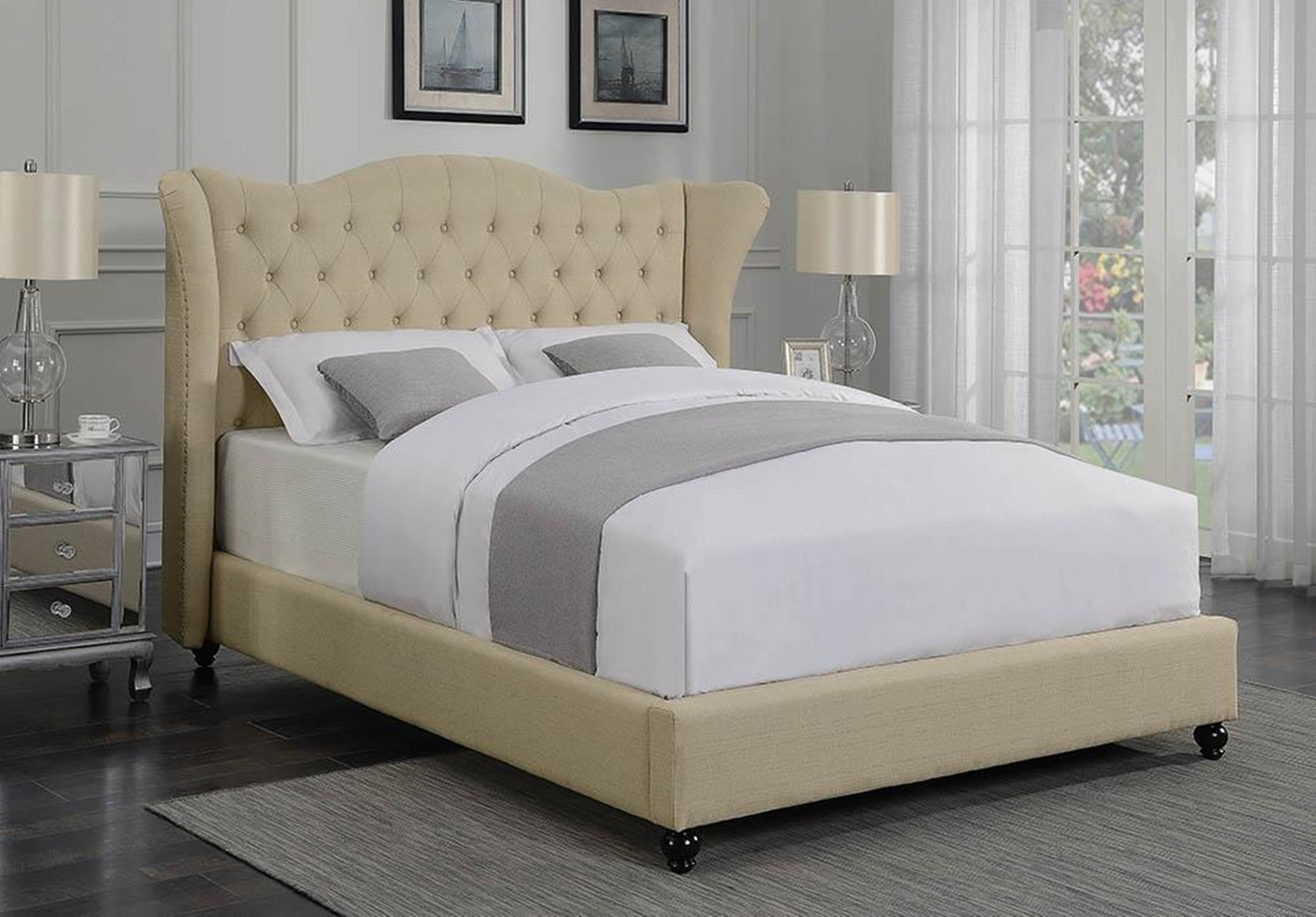 Coronado Beige Upholstered Queen Bed