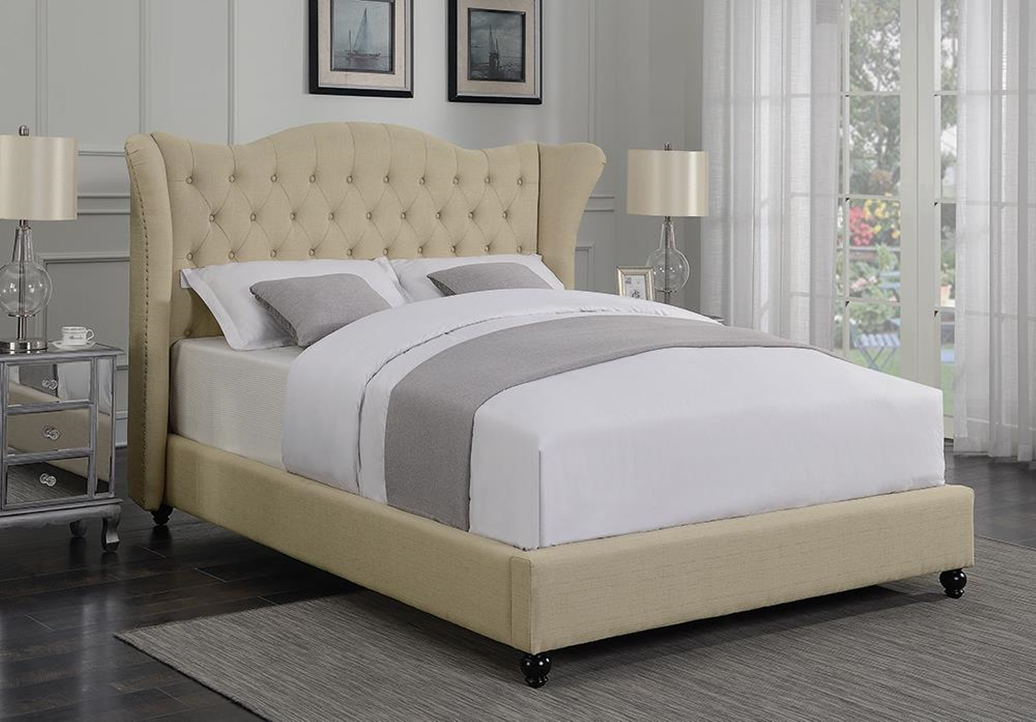 Coronado Beige Upholstered Twin Bed